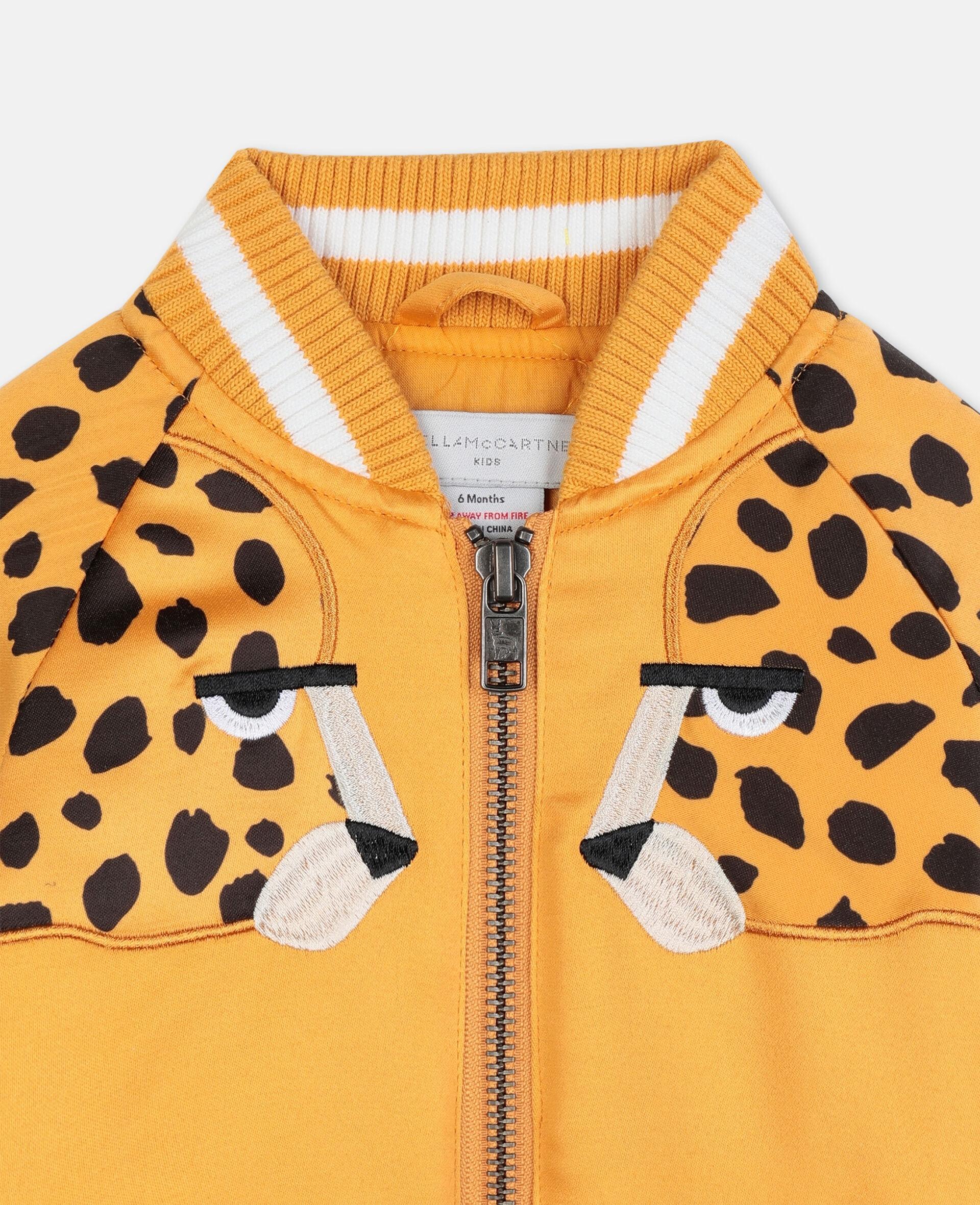 Cheetah Patch Satin Bomber   -Orange-large image number 1