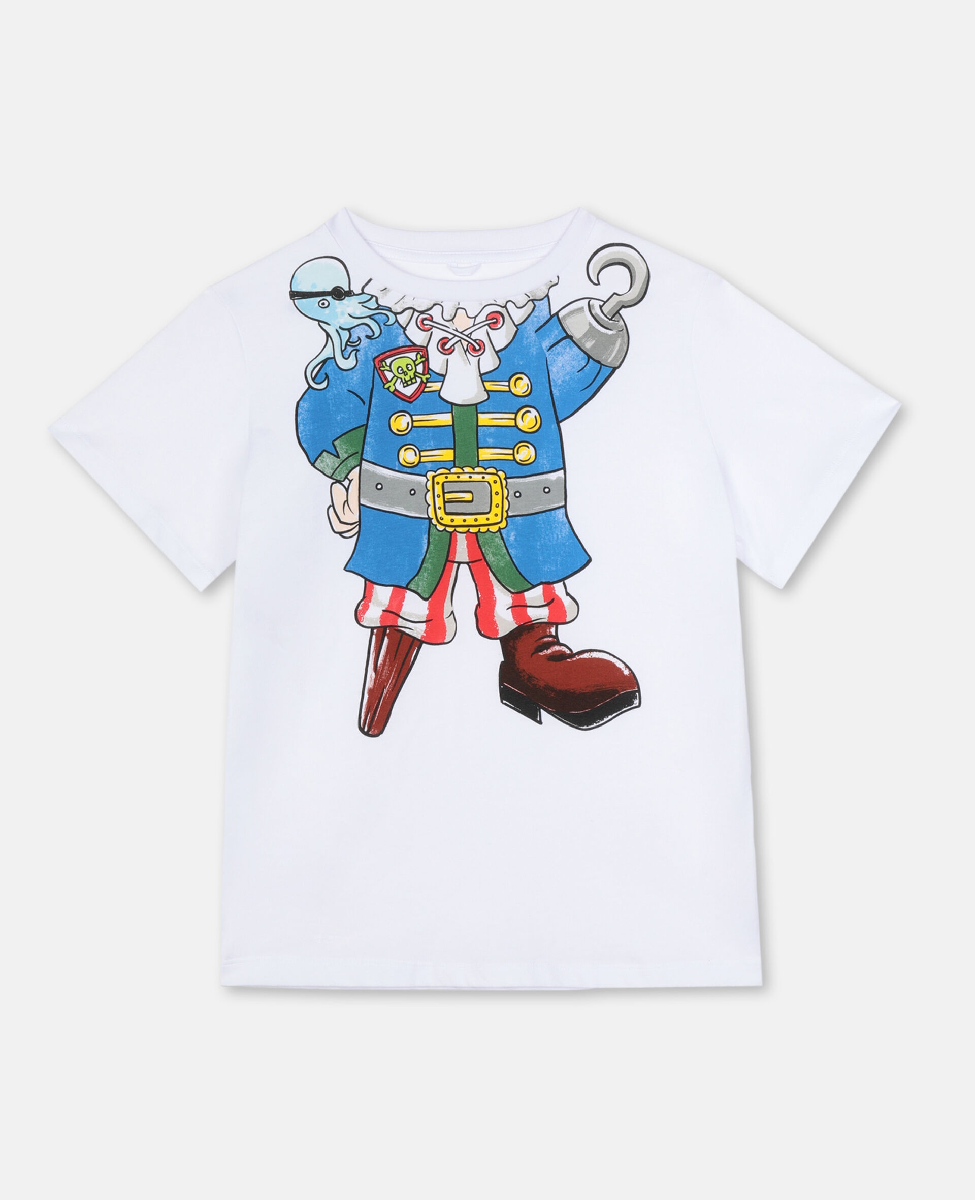 Trompe-L'Oeil Pirate Cotton T-shirt -White-large image number 0