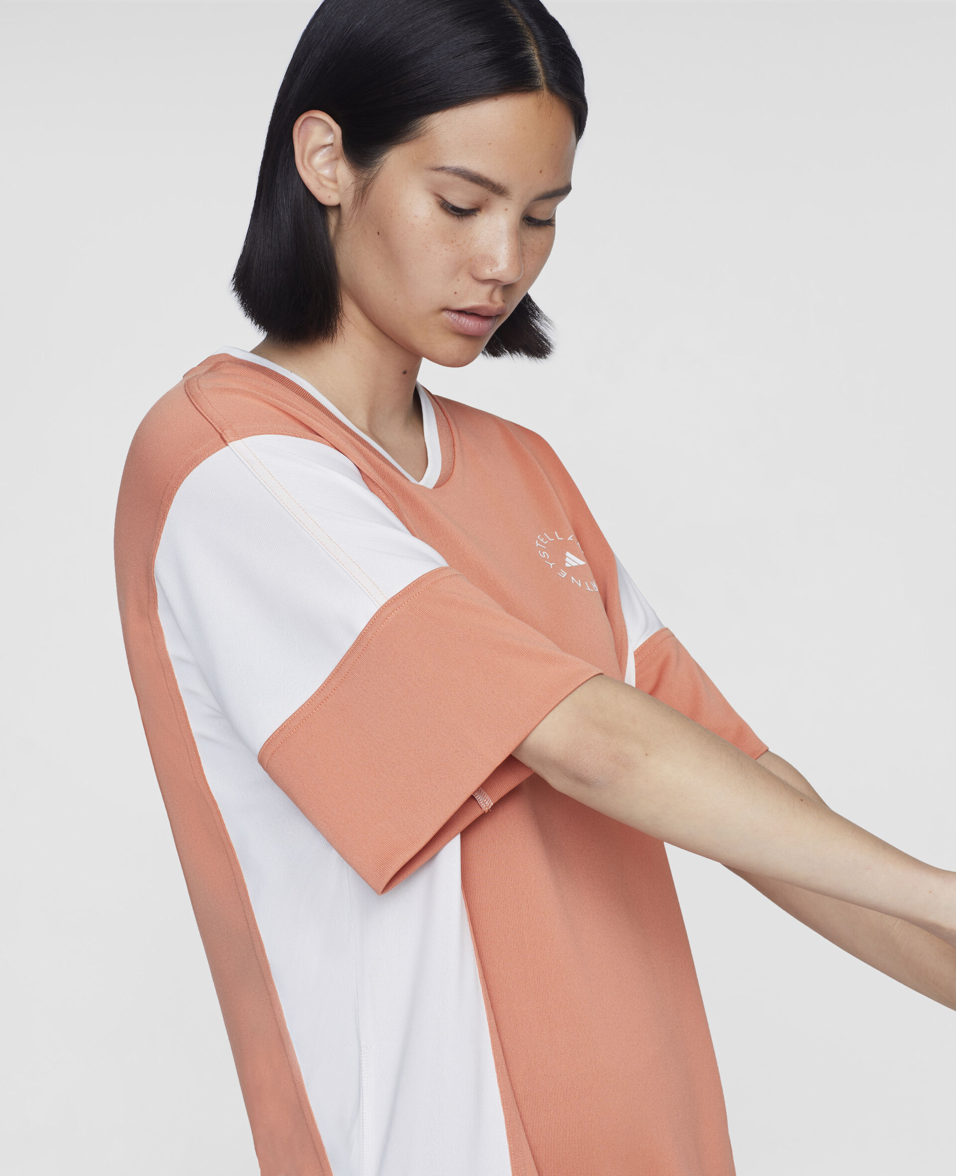 Dusted Clay and White Loose Fit Tee-Orange-large image number 3