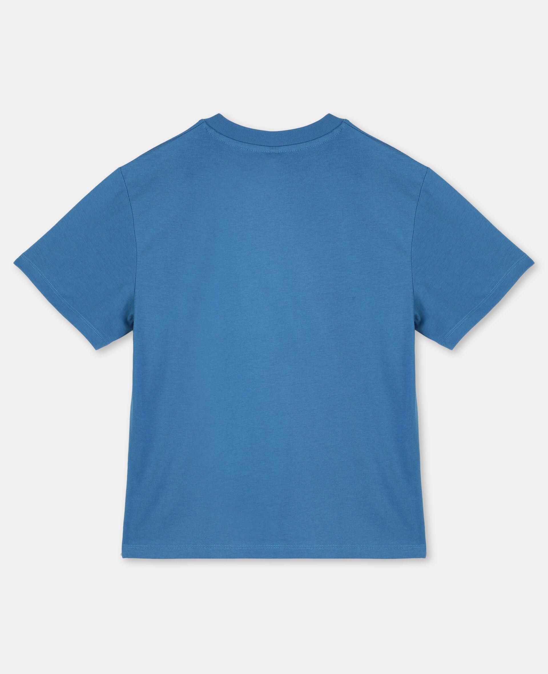 T-shirt oversize en coton à motif logo nautique -Bleu-large image number 3