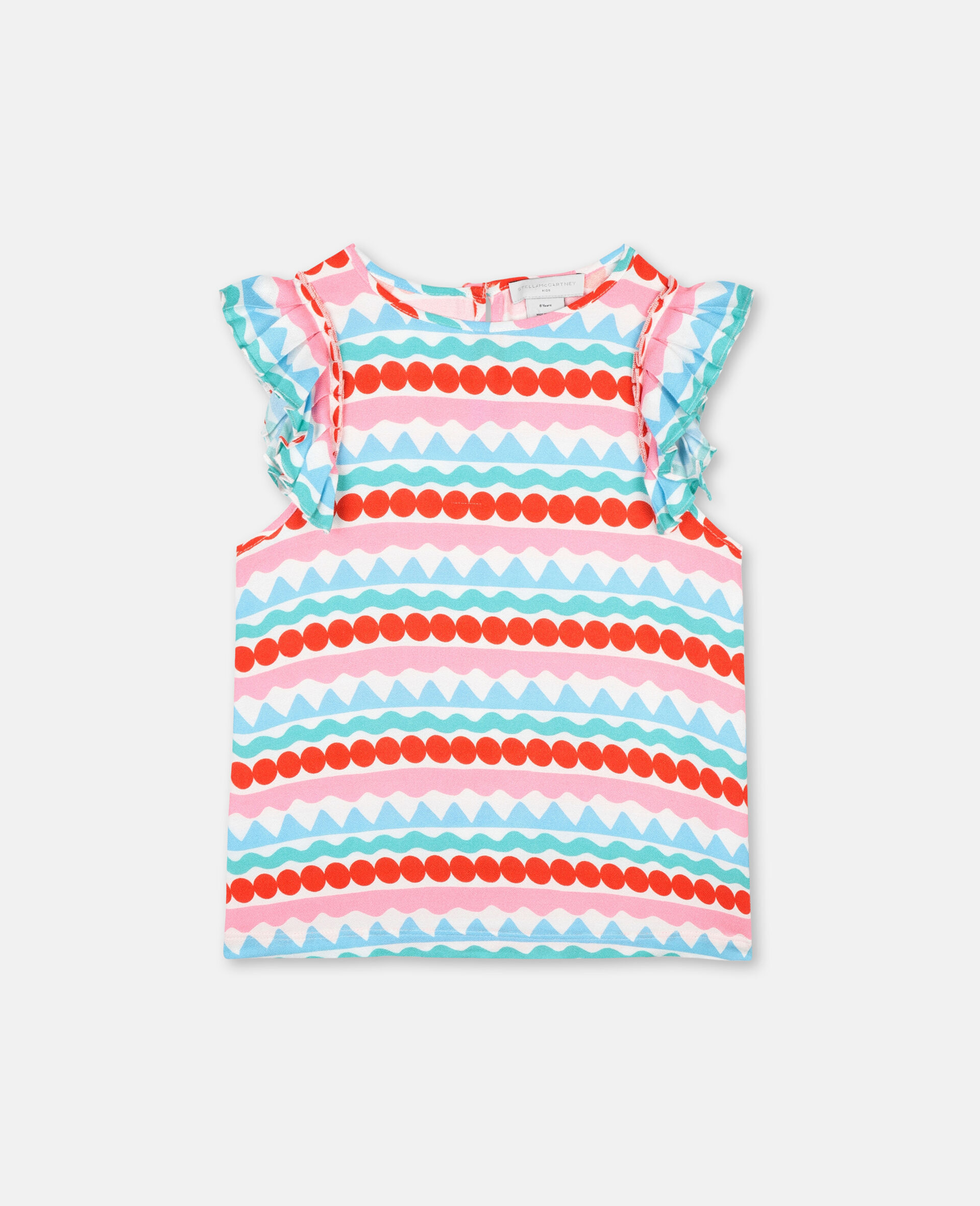 Graphic Stripes Viscose Crepe Top-Multicolour-large image number 0