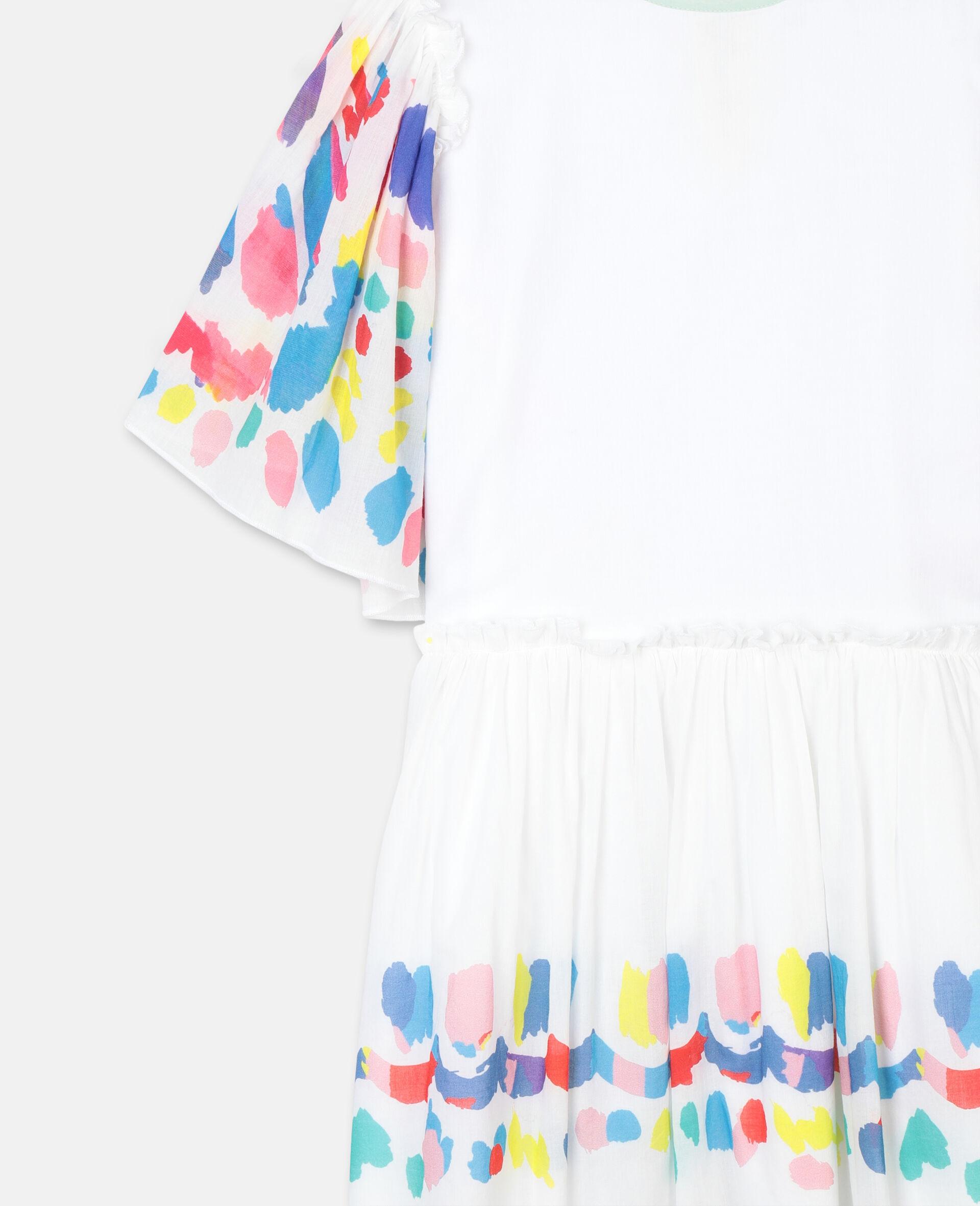 Weites Baumwollkleid mit Schmetterlingen-Weiß-large image number 1