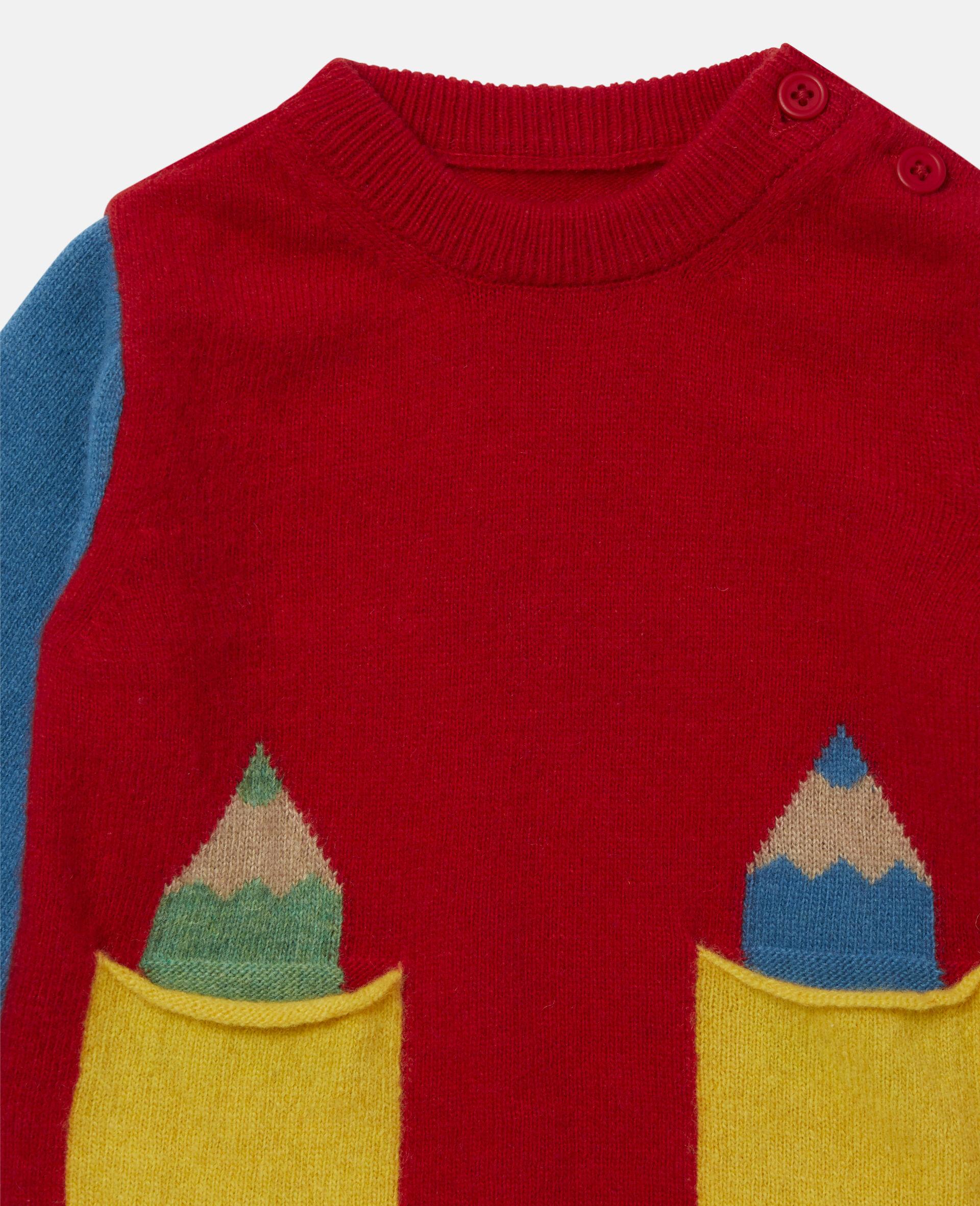 Strickpullover in Blockfarben-Design mit Intarsienmuster-Bunt-large image number 1