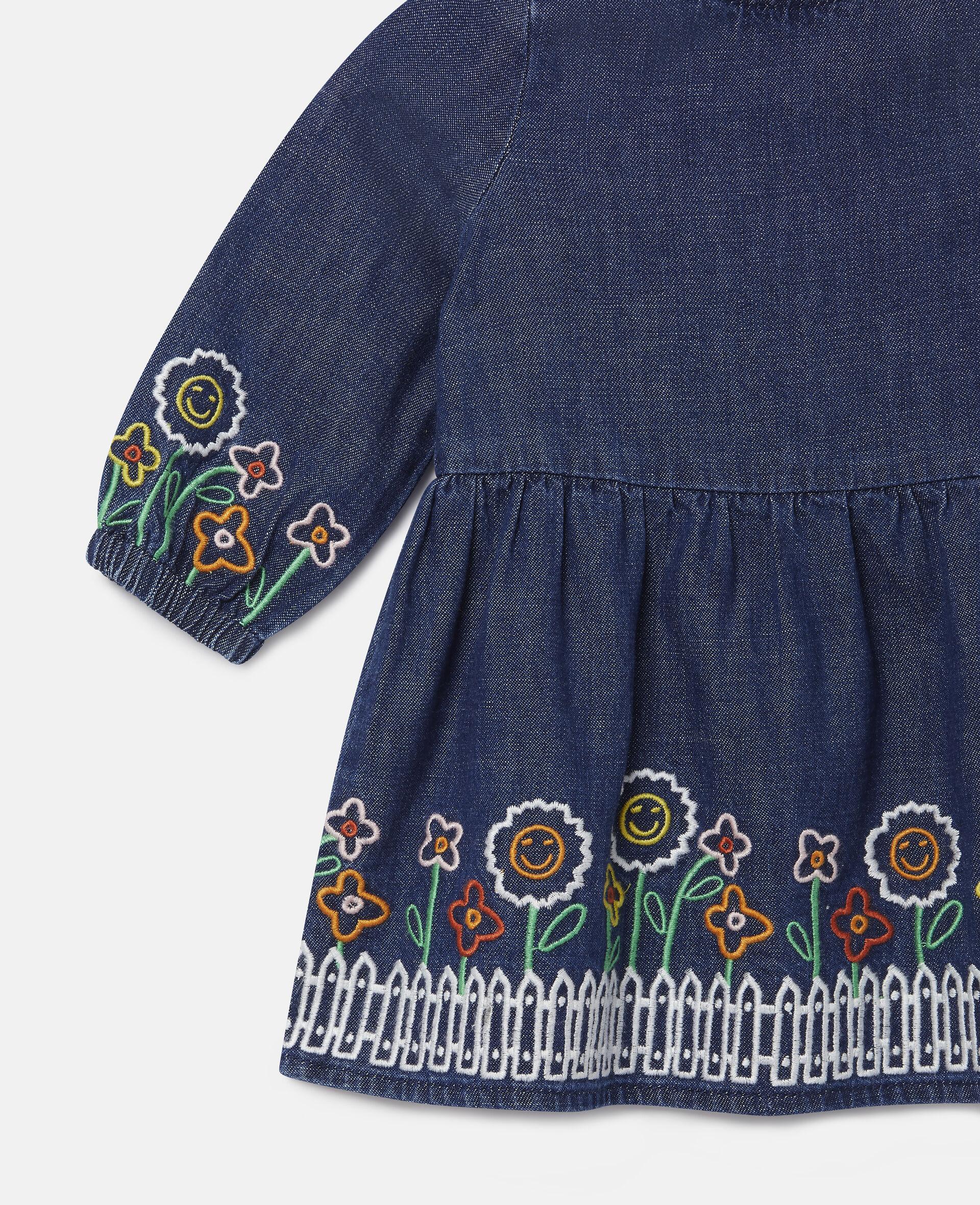 Embroidered Garden Denim Dress-Blue-large image number 1