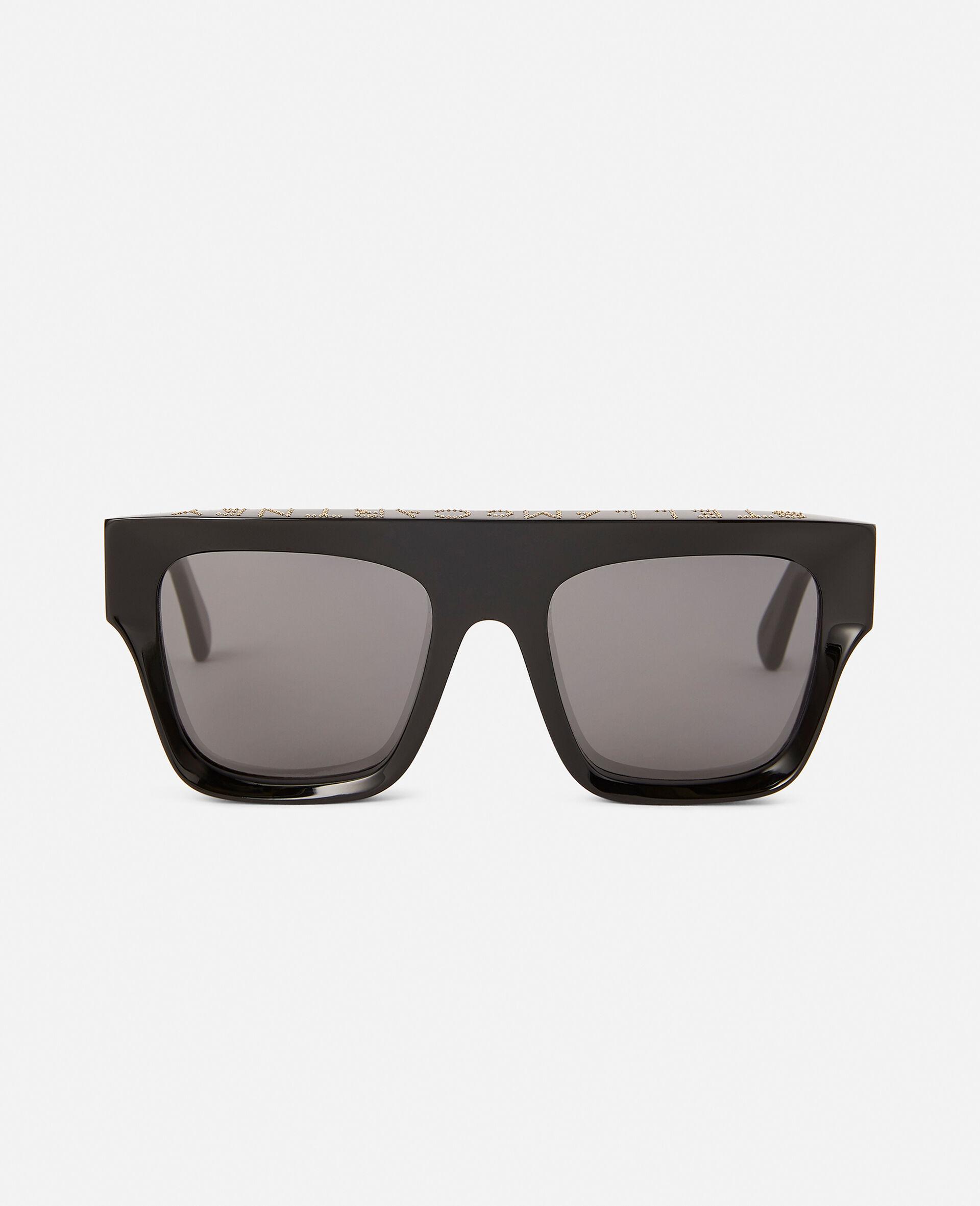 Shiny Black Square Sunglasses-Black-large image number 2
