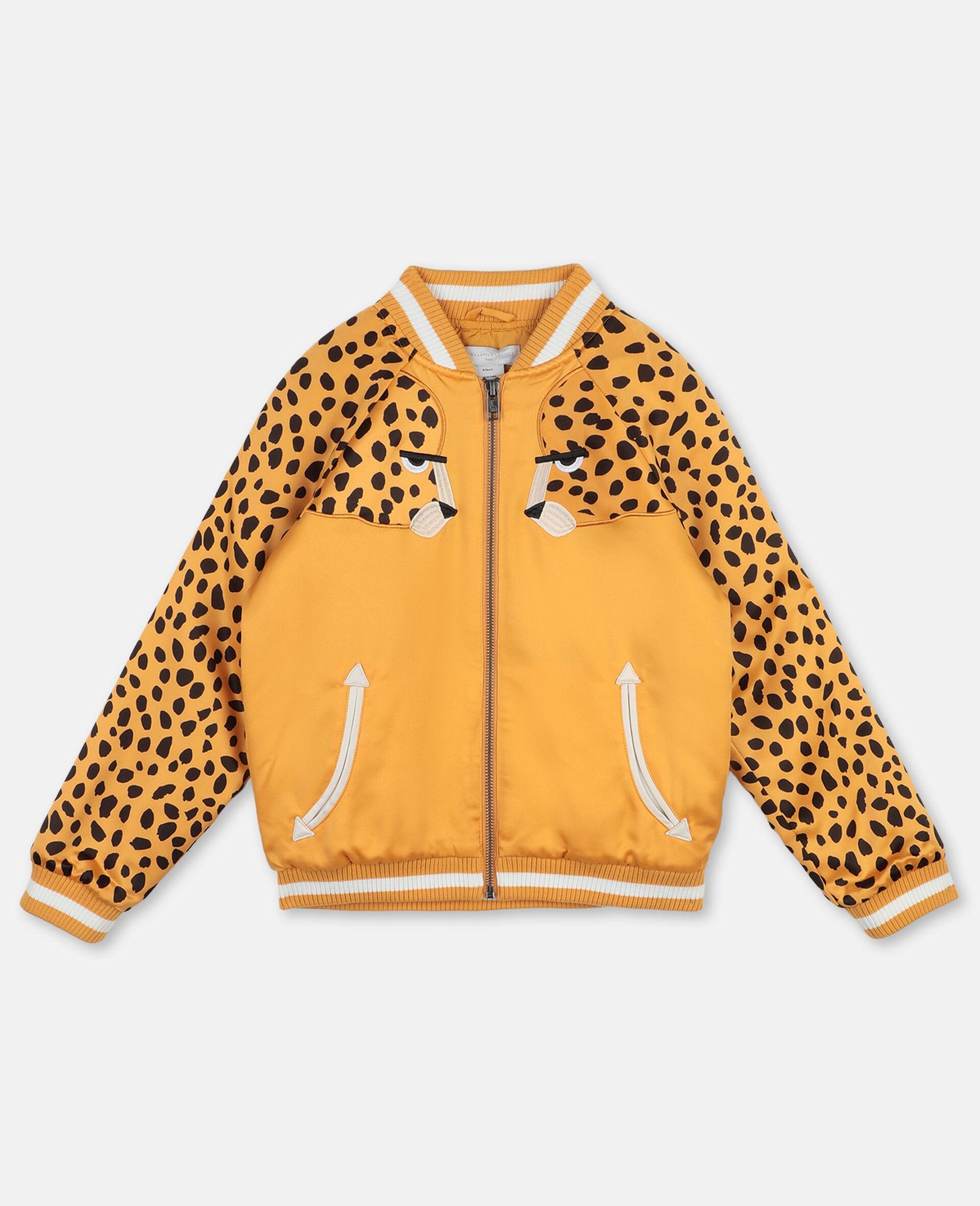 Cheetah Patch Satin Bomber   -Orange-large image number 0