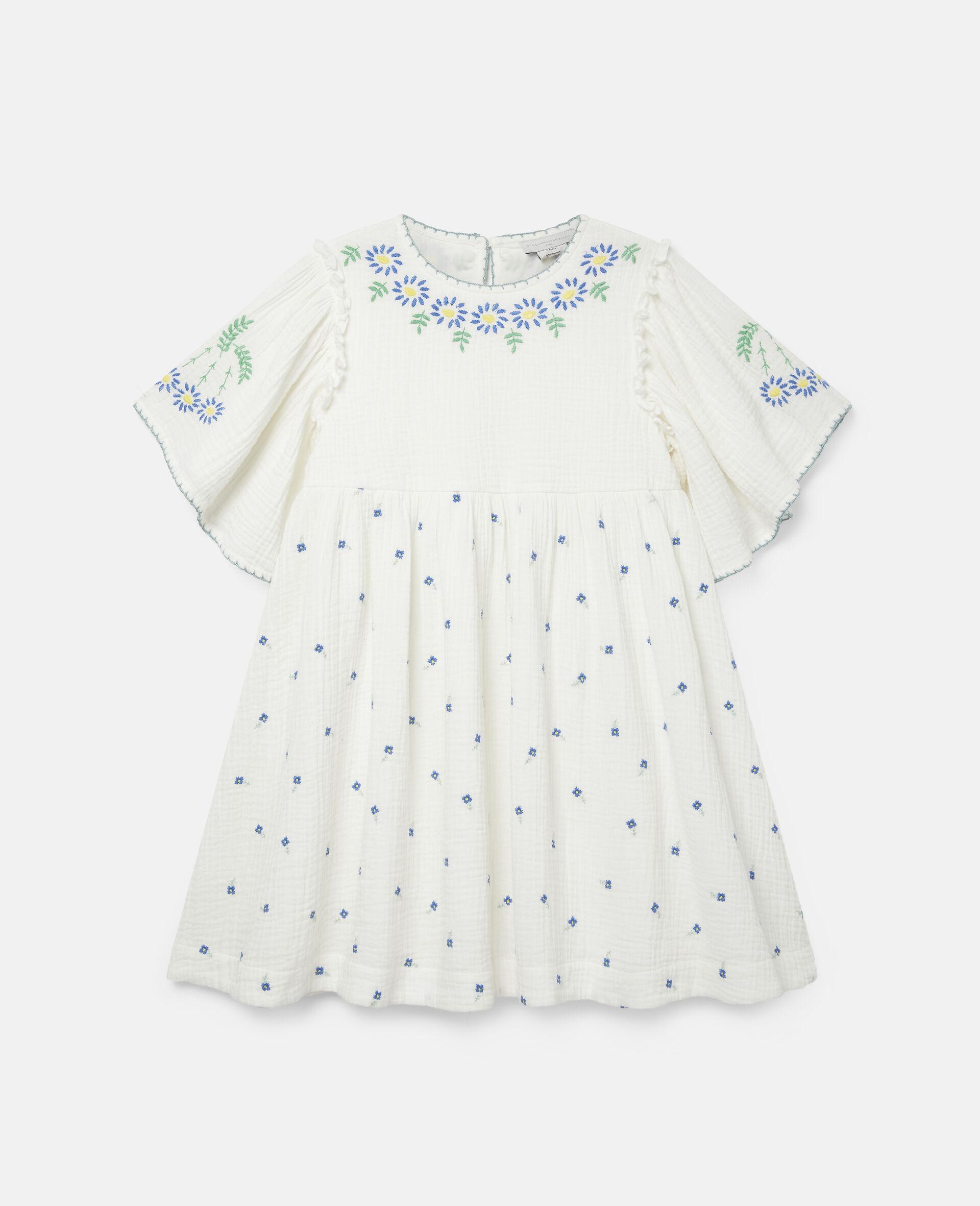 Baumwoll-Kleid mit Blumenstickerei-Weiß-large image number 0