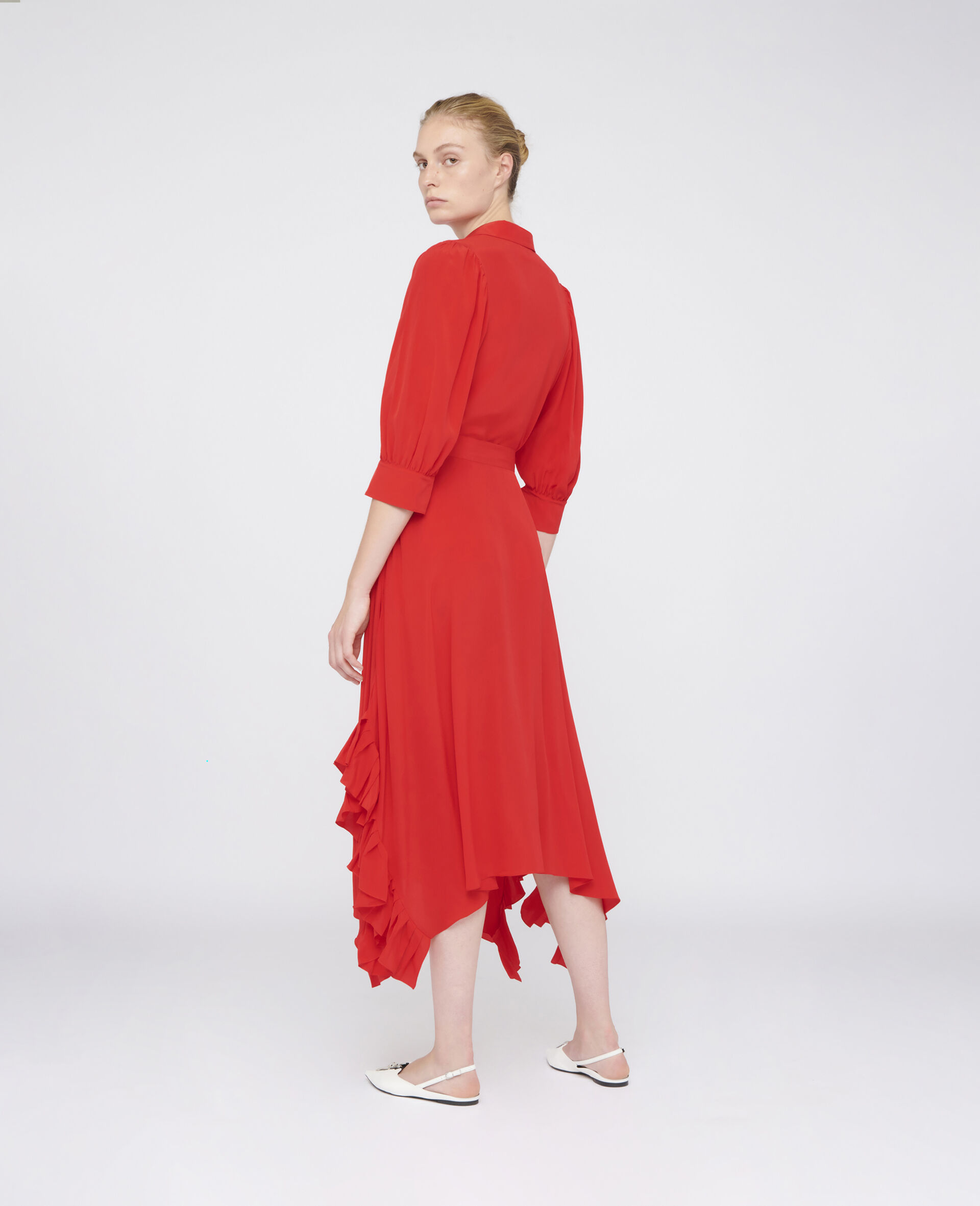 Ashlyn Mixi Silk Dress-Red-large image number 2