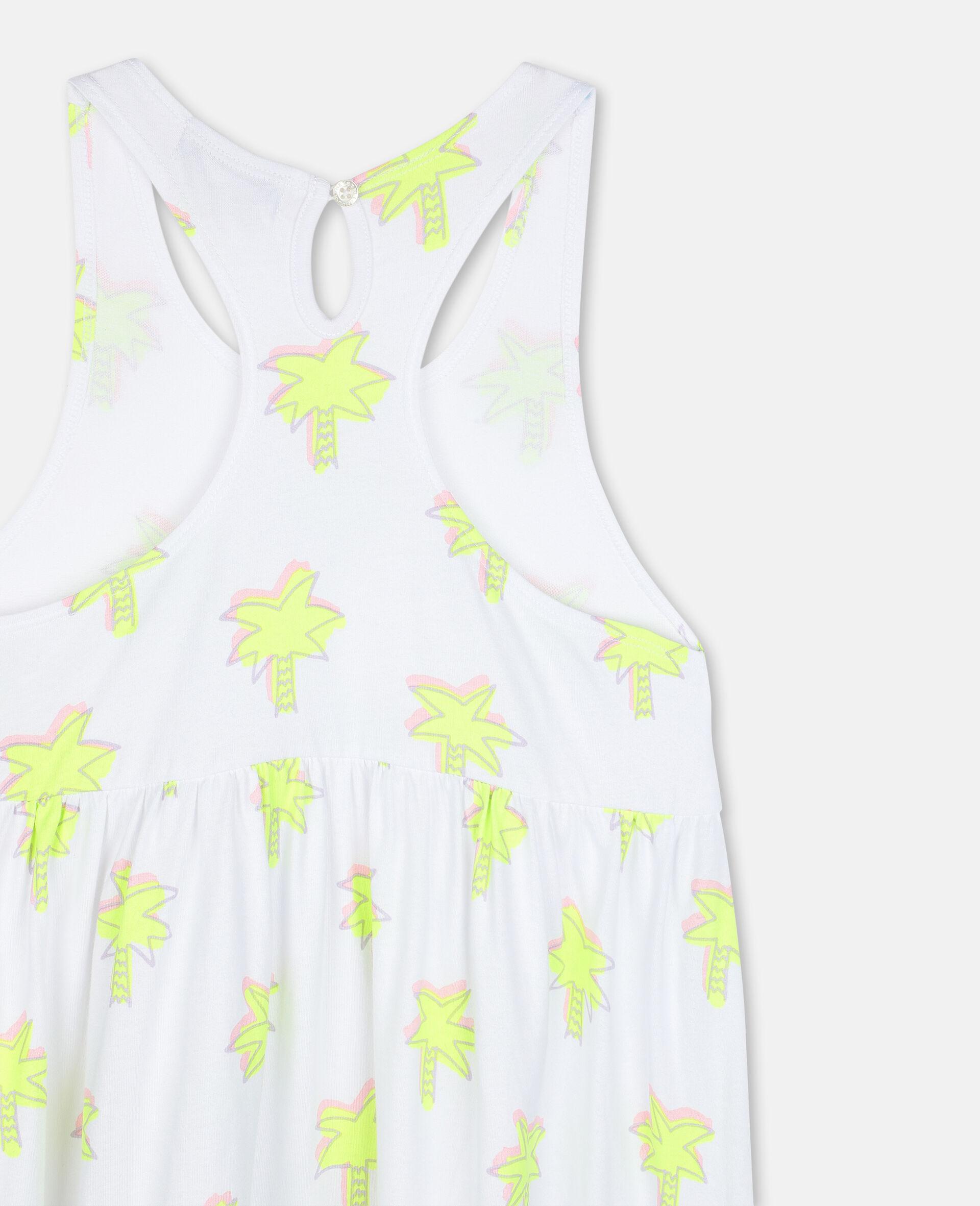 Doodle Palm Cotton Dress-White-large image number 2