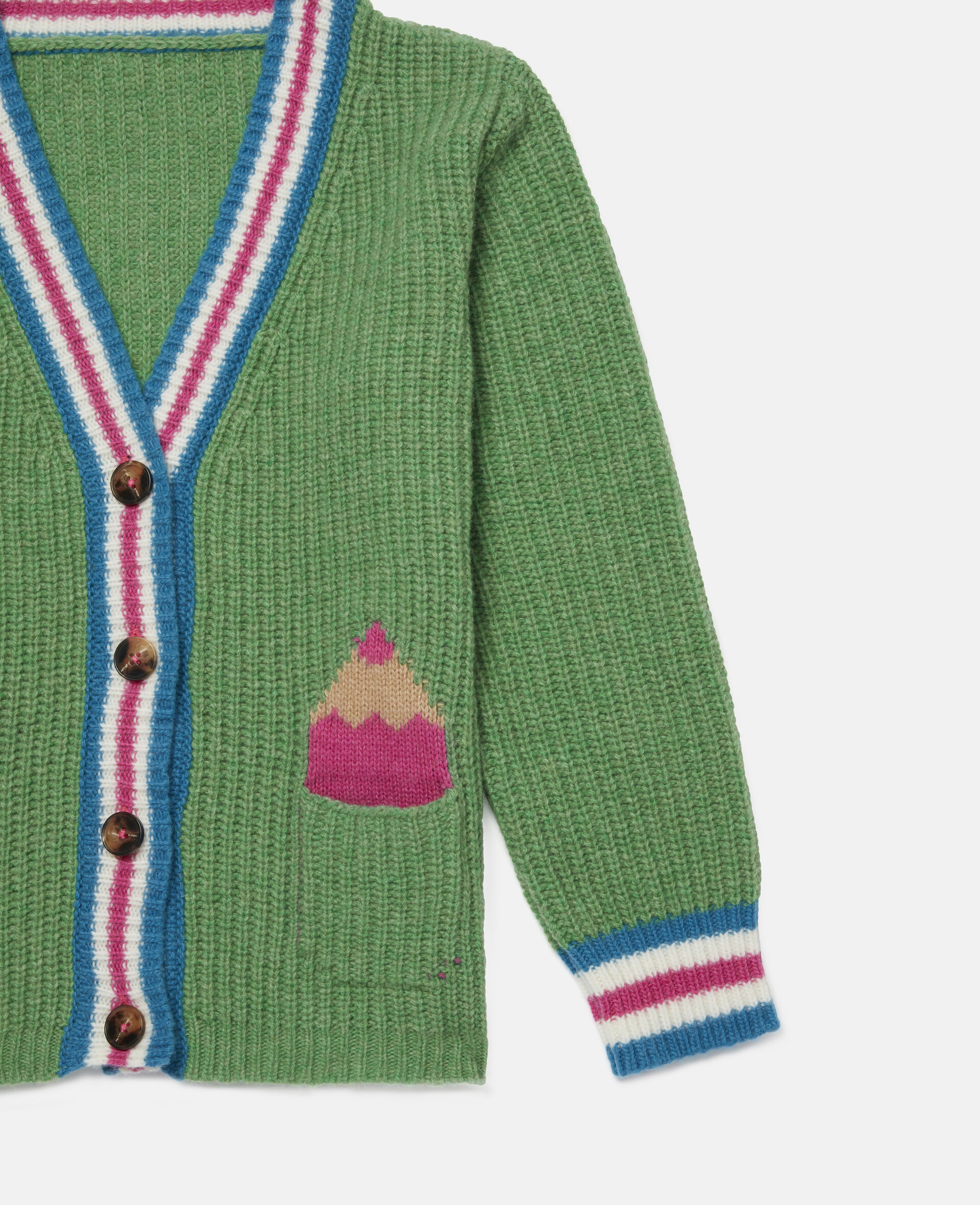 Pencils Knit Intarsia Cardigan -Green-large image number 2