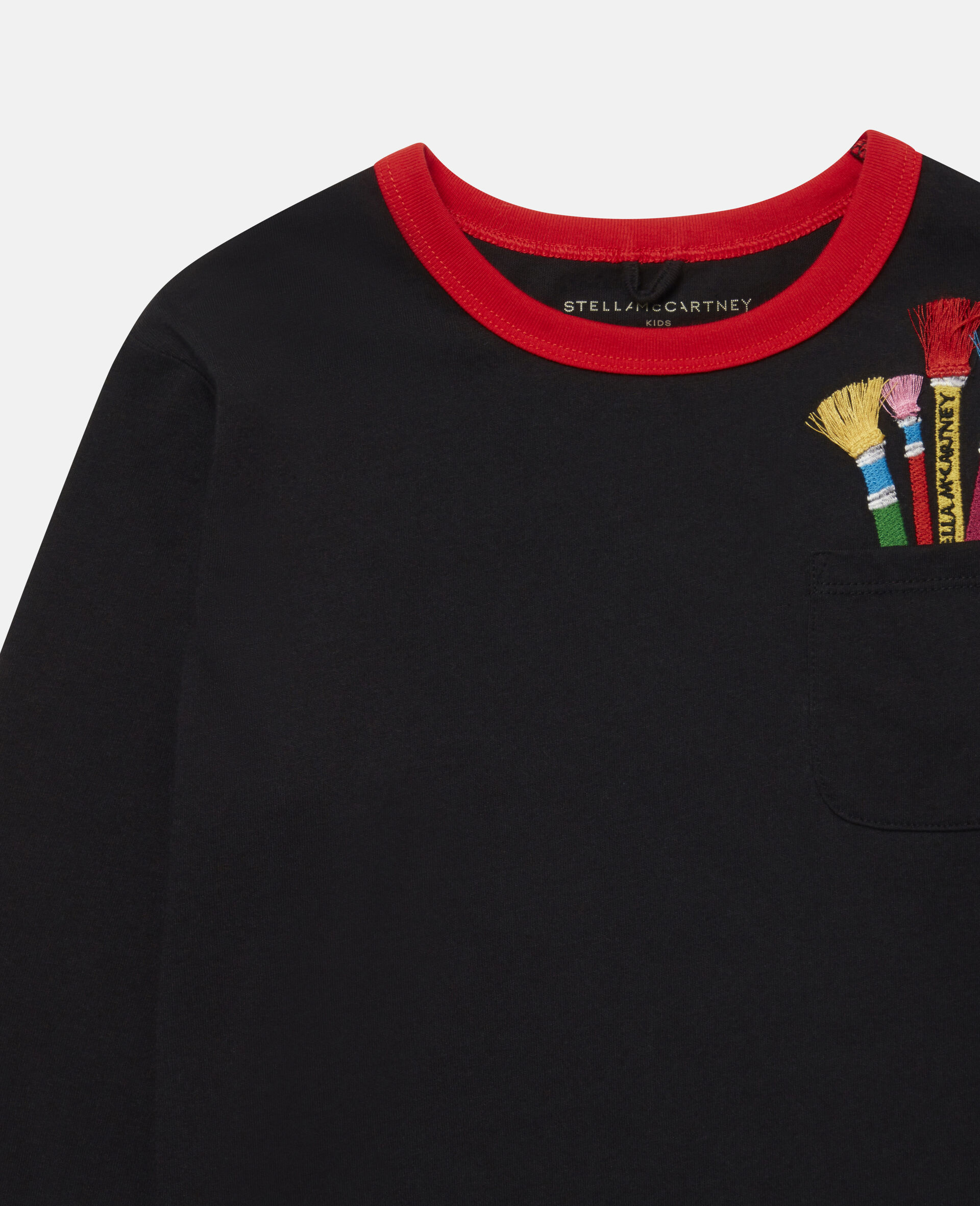 Embroidered Paintbrushes Oversize Top -Black-large image number 1