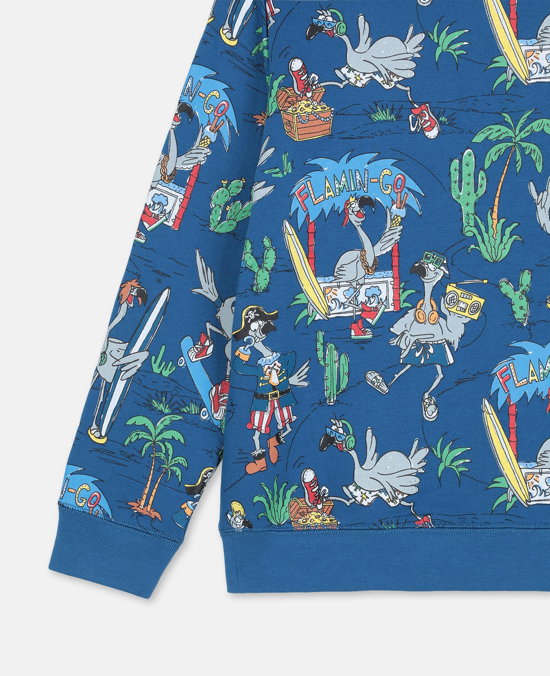Baumwollsweatshirt mit Flamingo-Land-Print -Blau-large image number 2