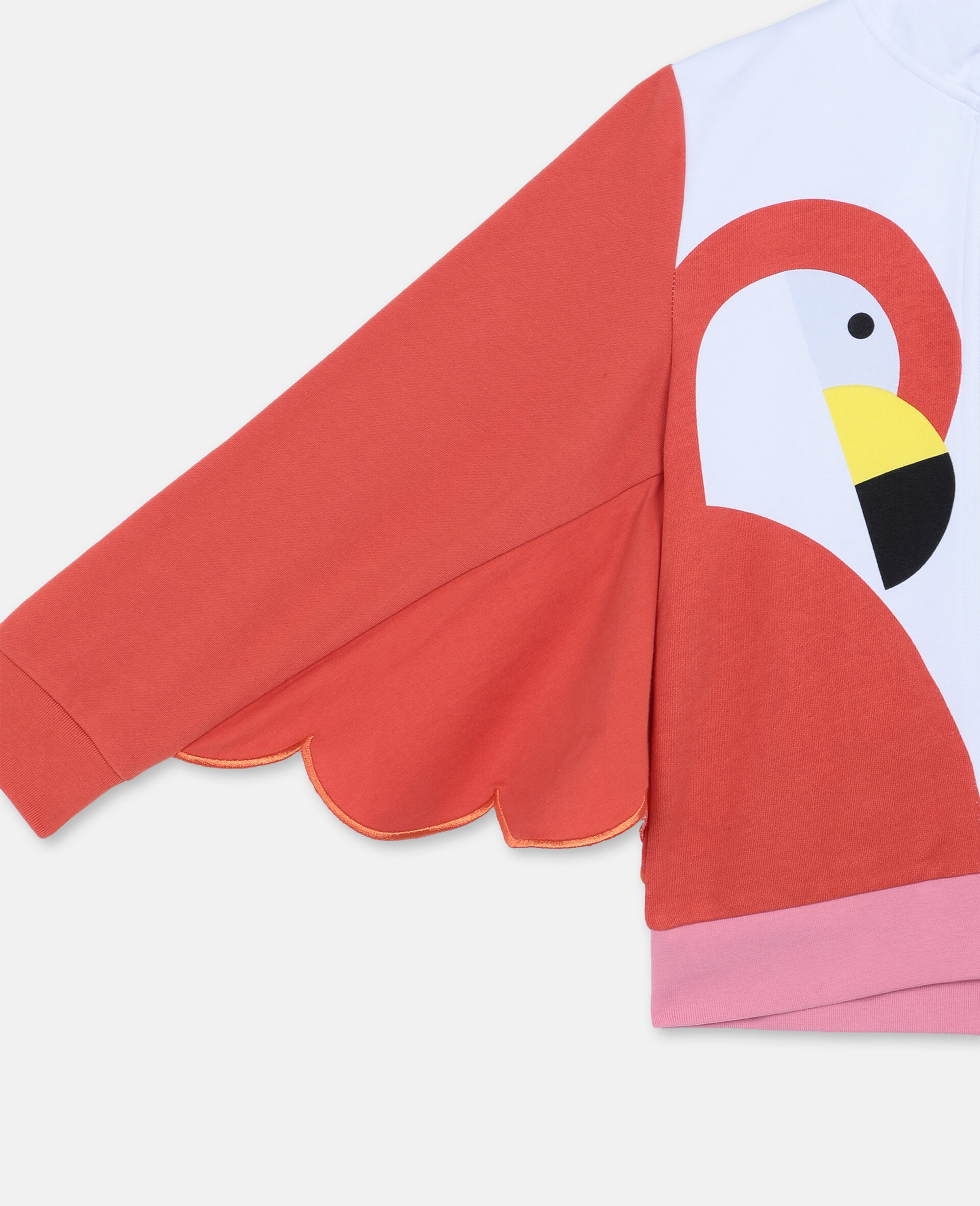Flamingo Cotton Fleece Zip-Up Hoodie-White-large image number 2