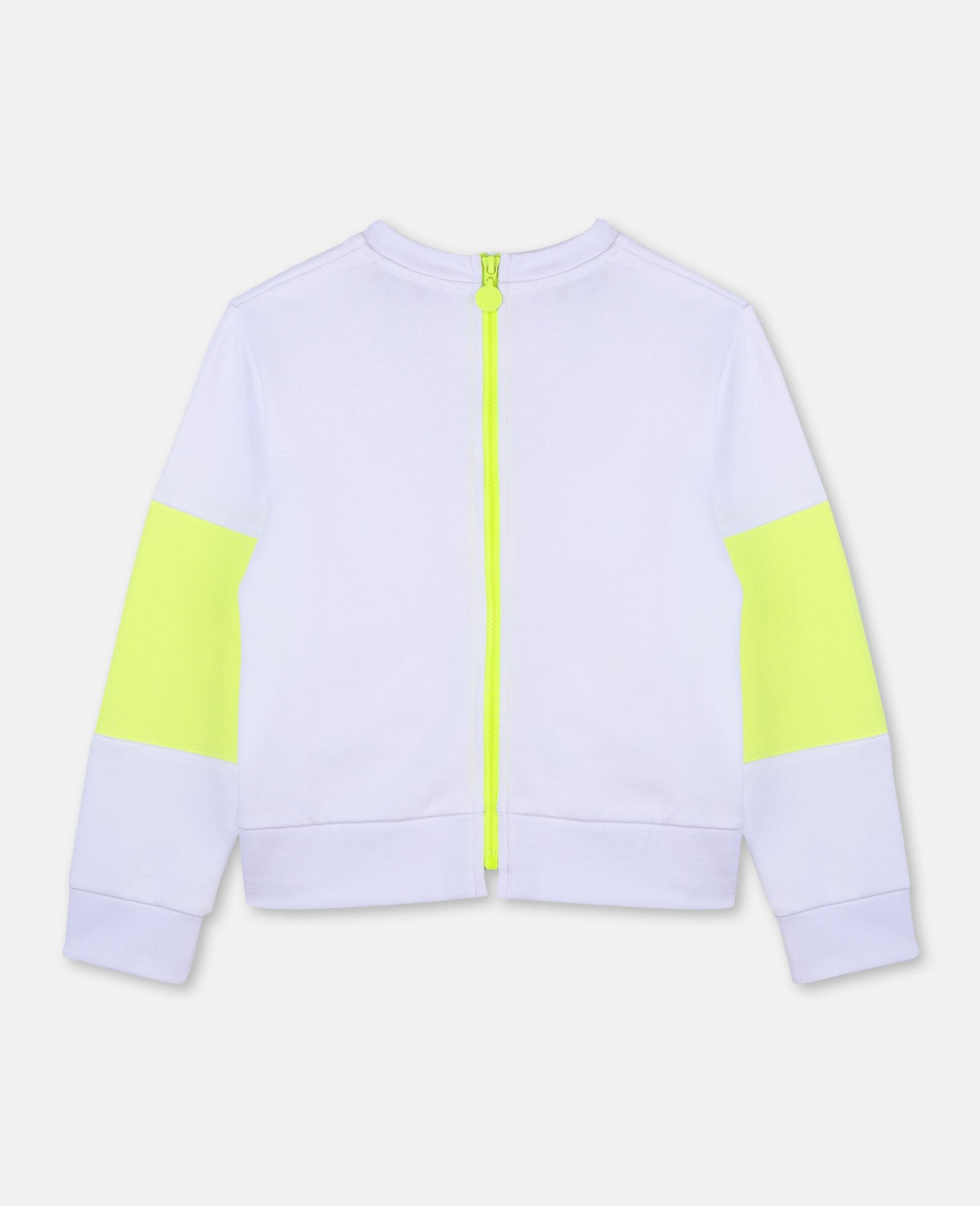 Sweat-shirt de sport en molleton de coton avec logo-Blanc-large image number 3