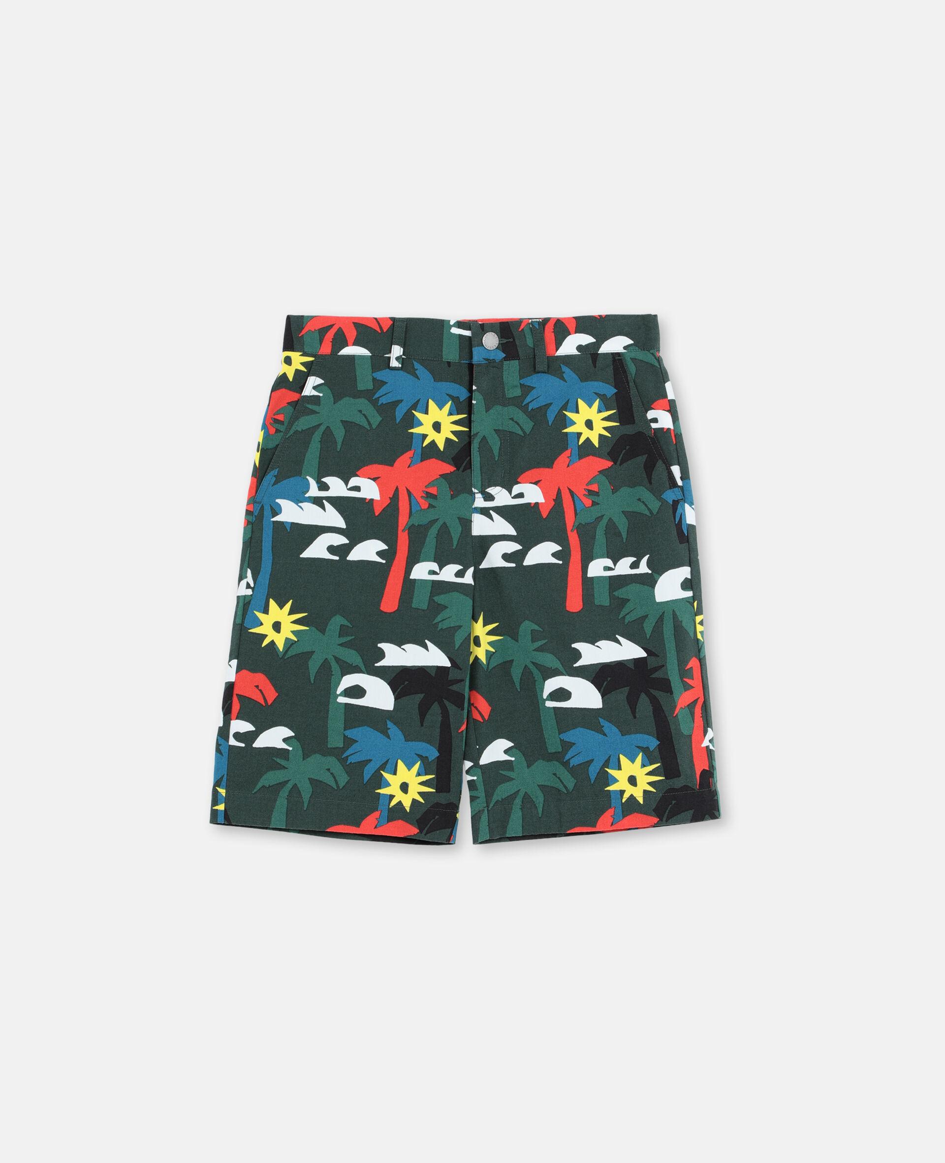 Multicolour Palm Trees Cotton Shorts -Multicolour-large image number 0