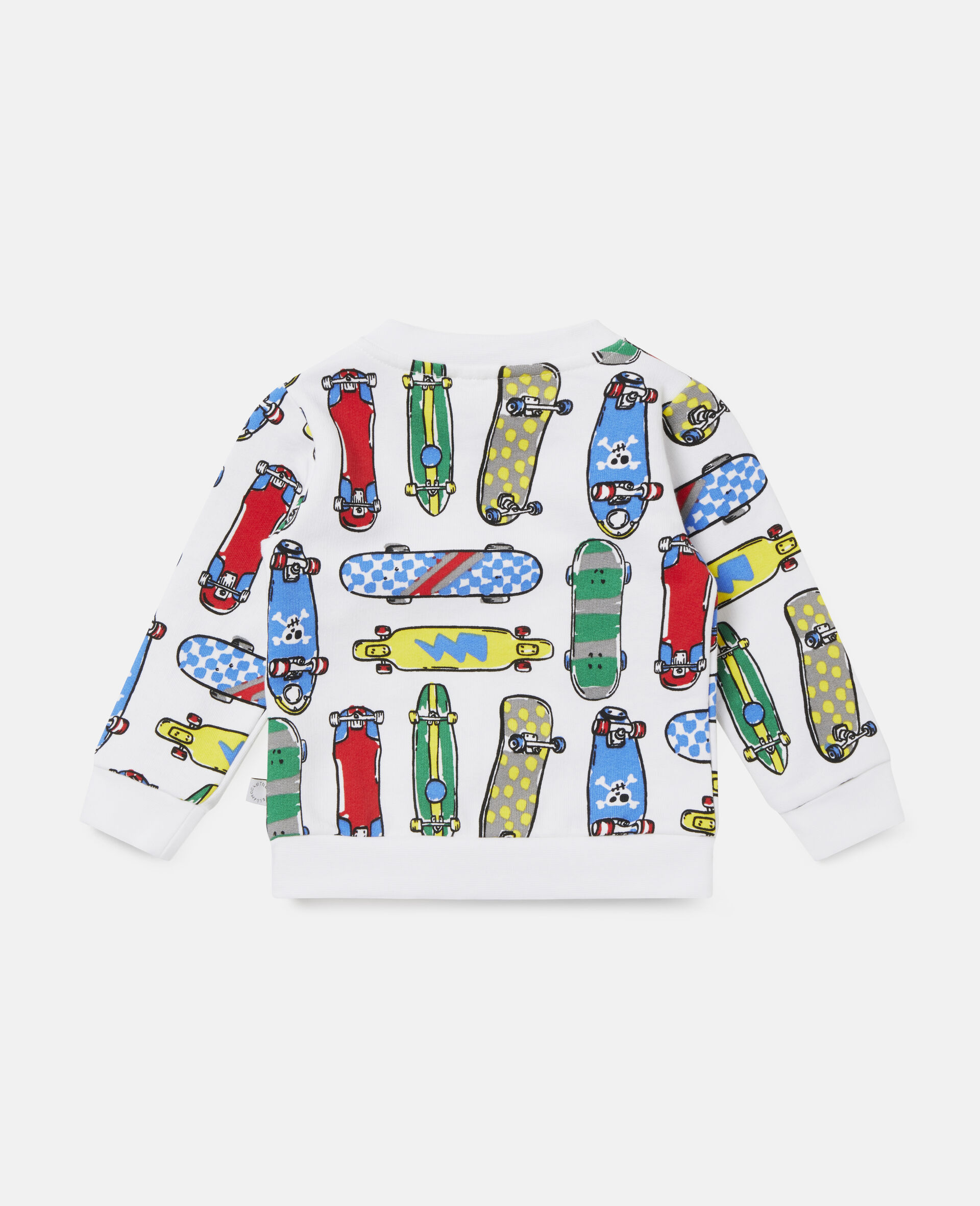 Fleece-Sweatshirt mit Skateboardmotiv-Weiß-large image number 3