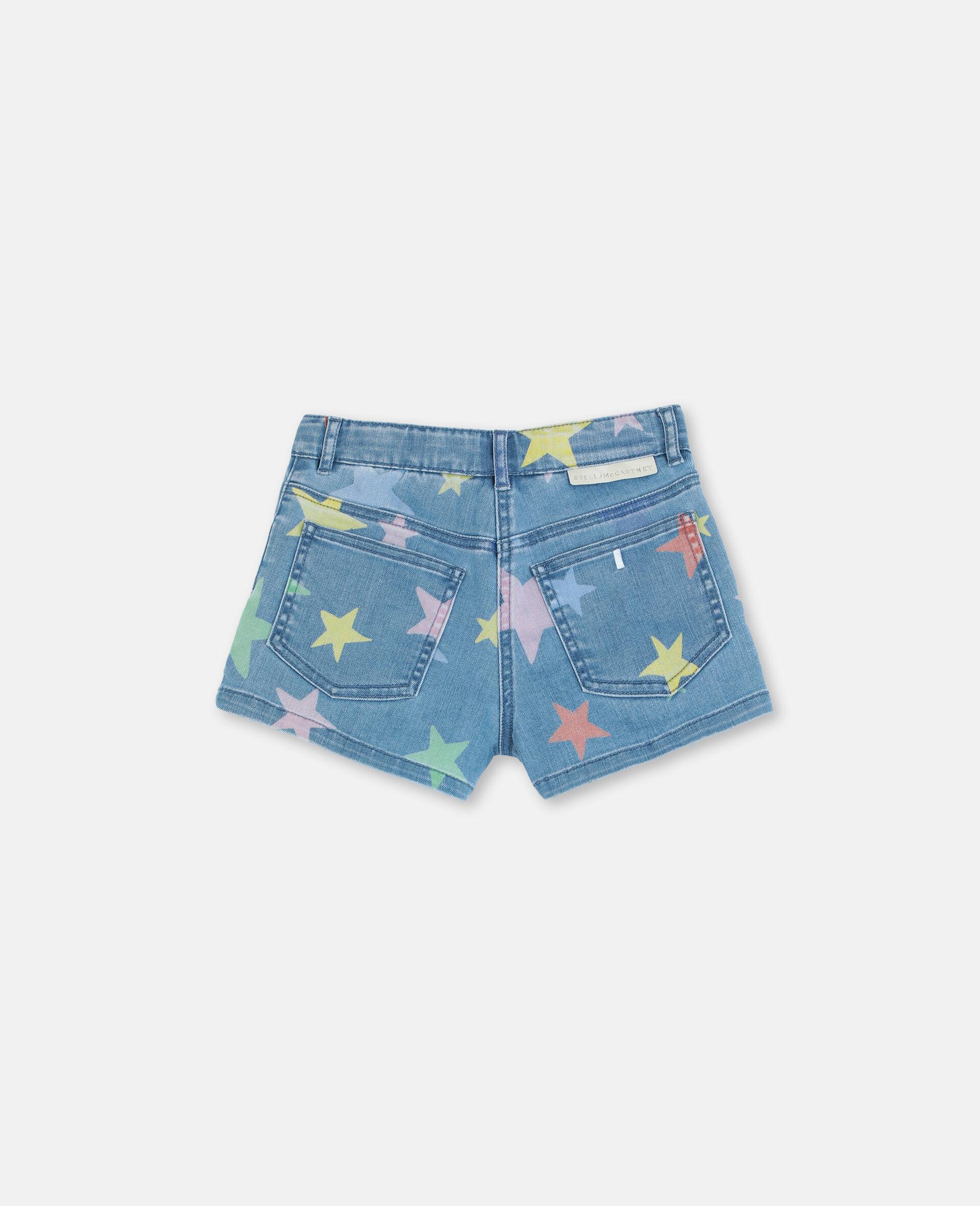 Multicolour Stars Denim Shorts -Multicolour-large image number 3