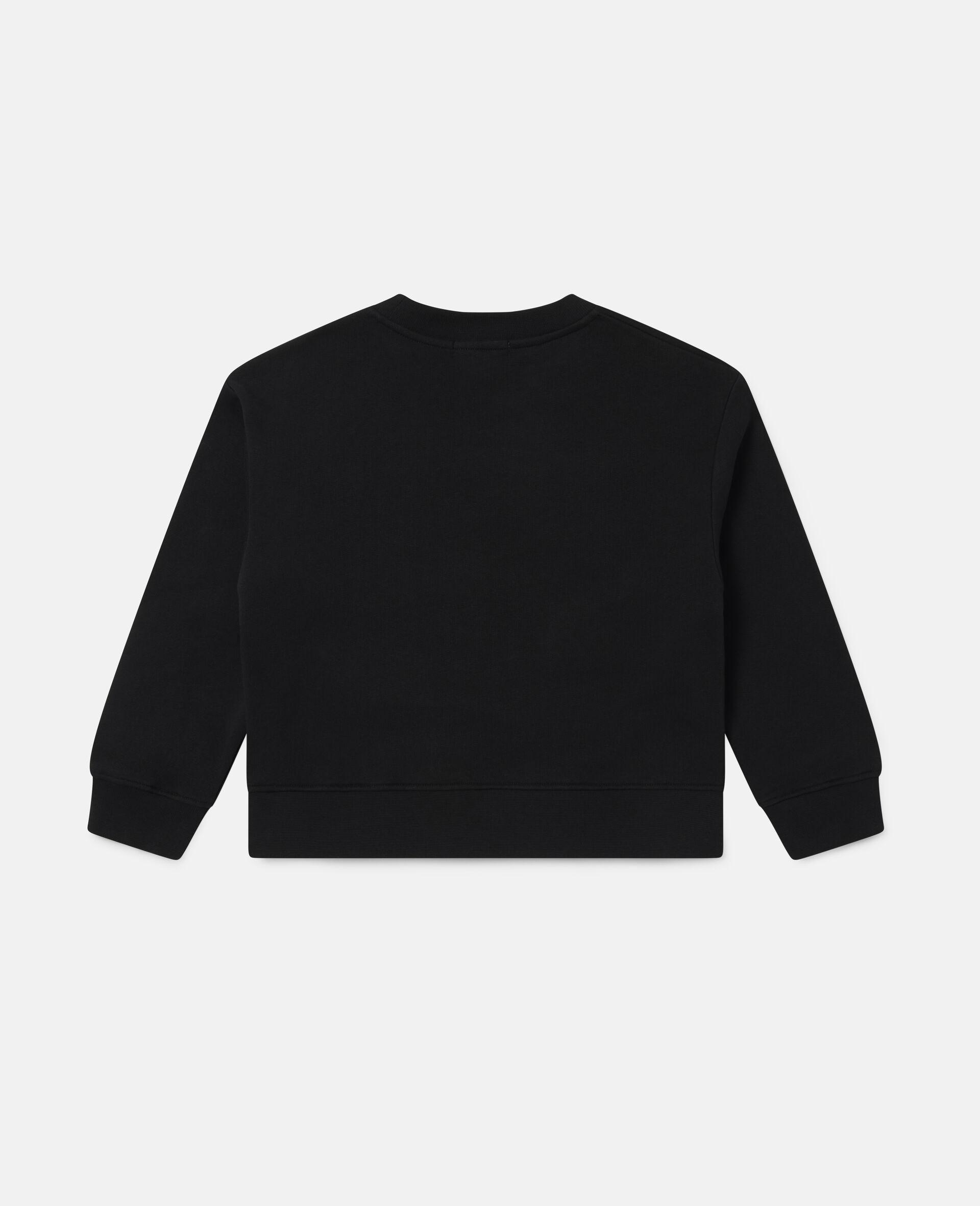 Übergroßes Sweatshirt aus Baumwollfleece mit gepunkteter Blume-Schwarz-large image number 3