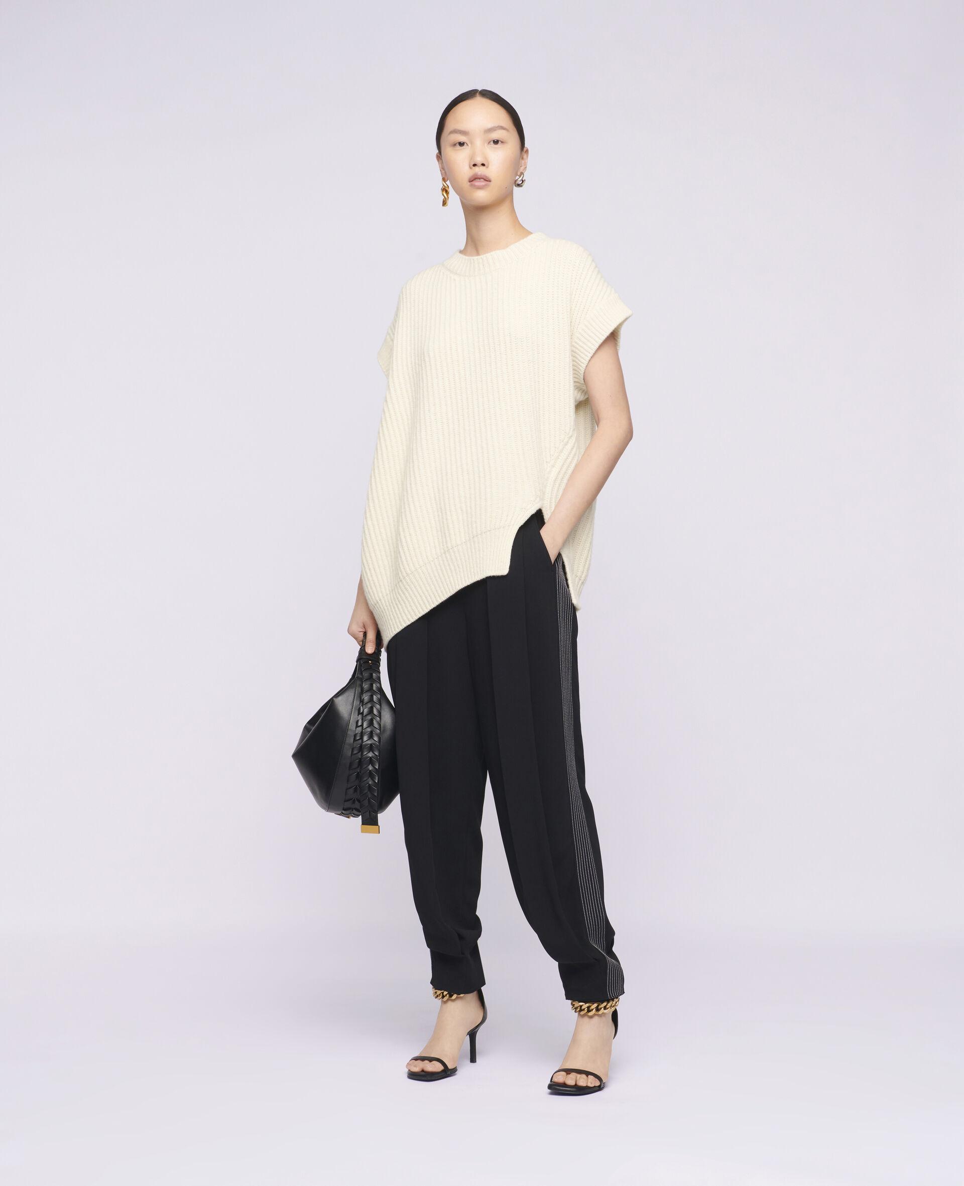 柔软无袖针织衫-米色-large image number 1