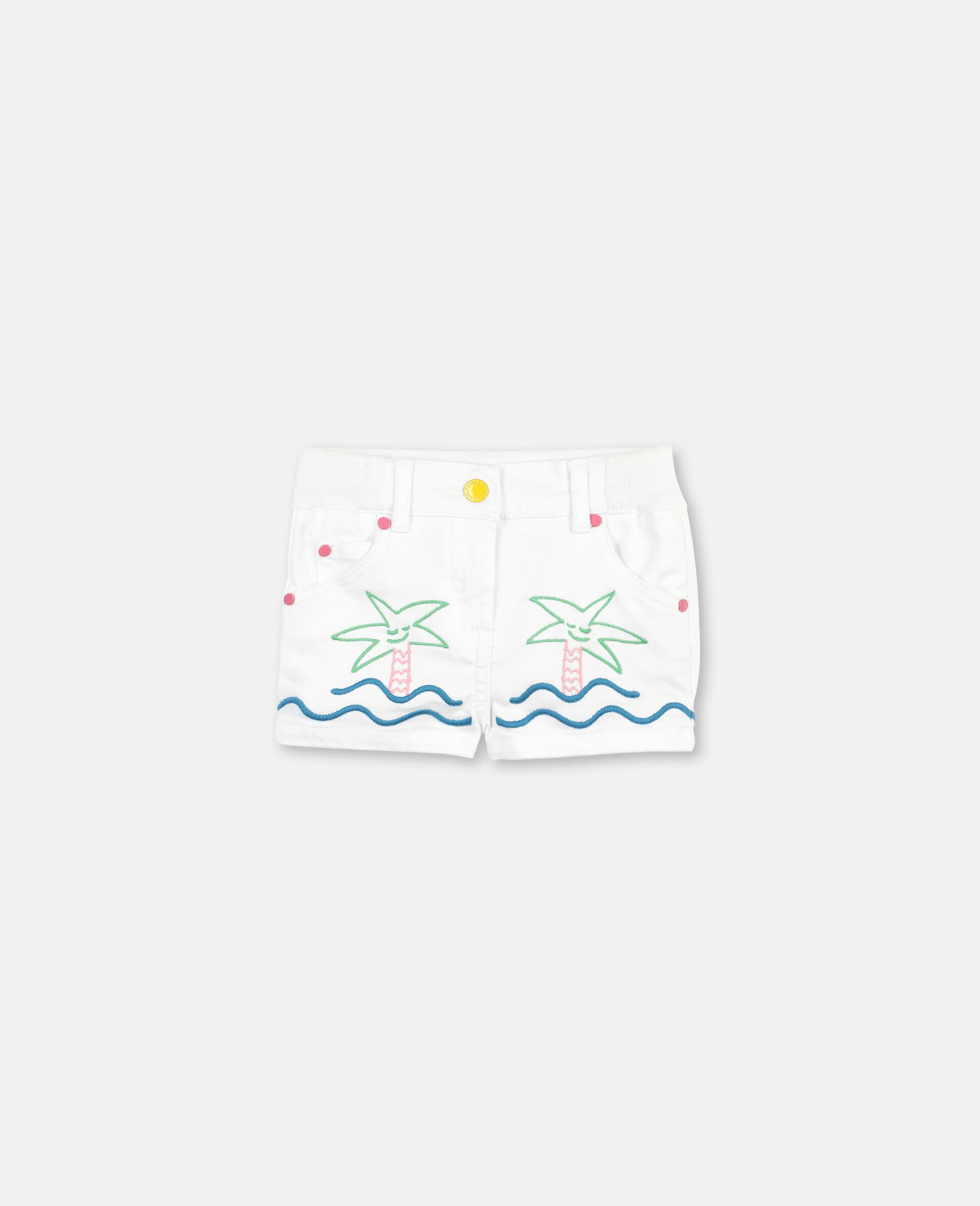 Embroided Palm and Sea Denim Shorts -White-large