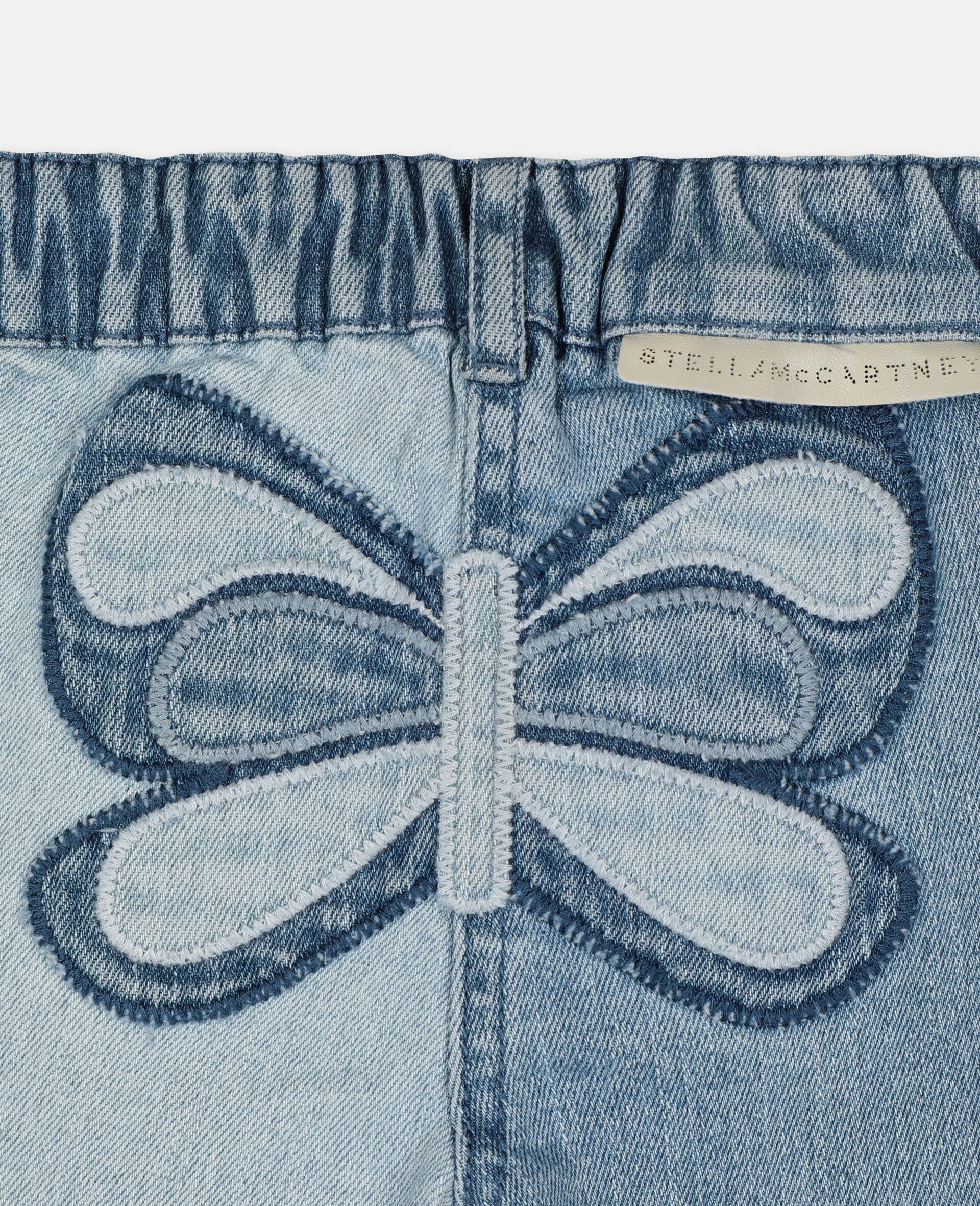 Pantalon en denim slim à motif papillon-Bleu-large image number 2