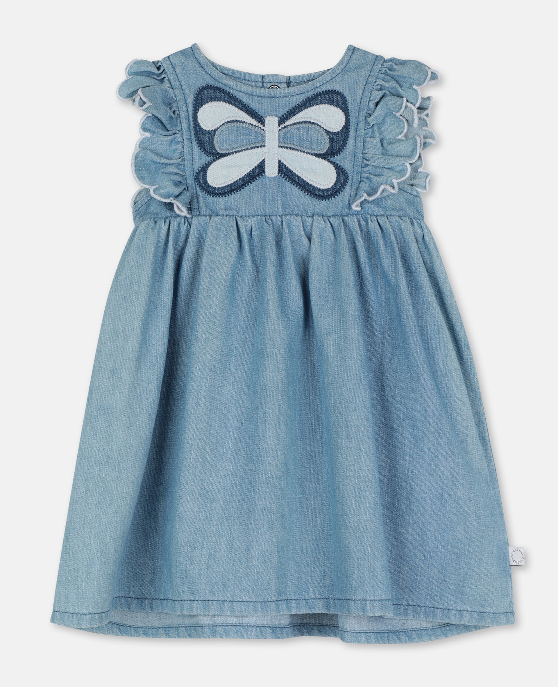 Butterfly Patch Denim Dress-Blue-large