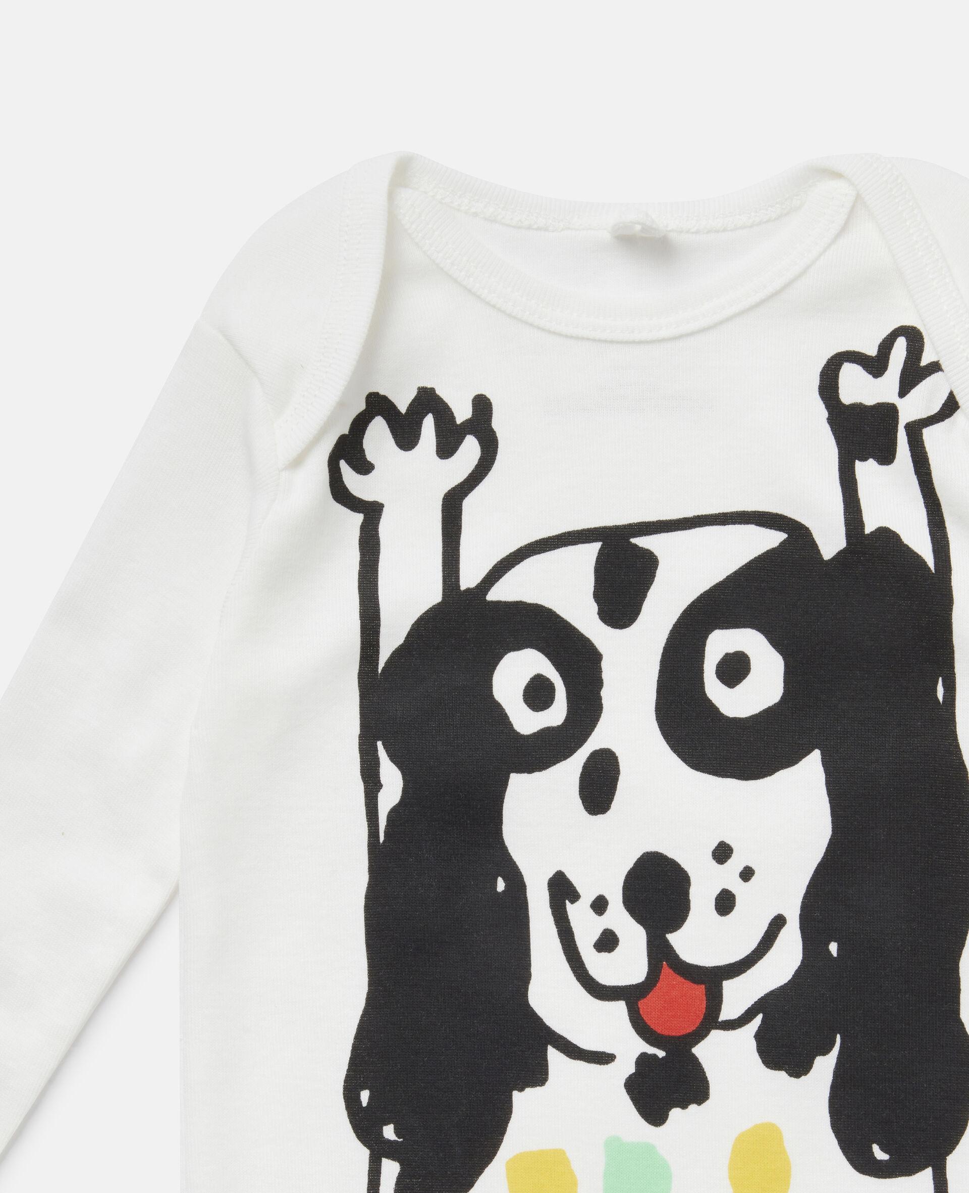 Dalmatian Jersey Rib Babygrow & Bib Set-White-large image number 2