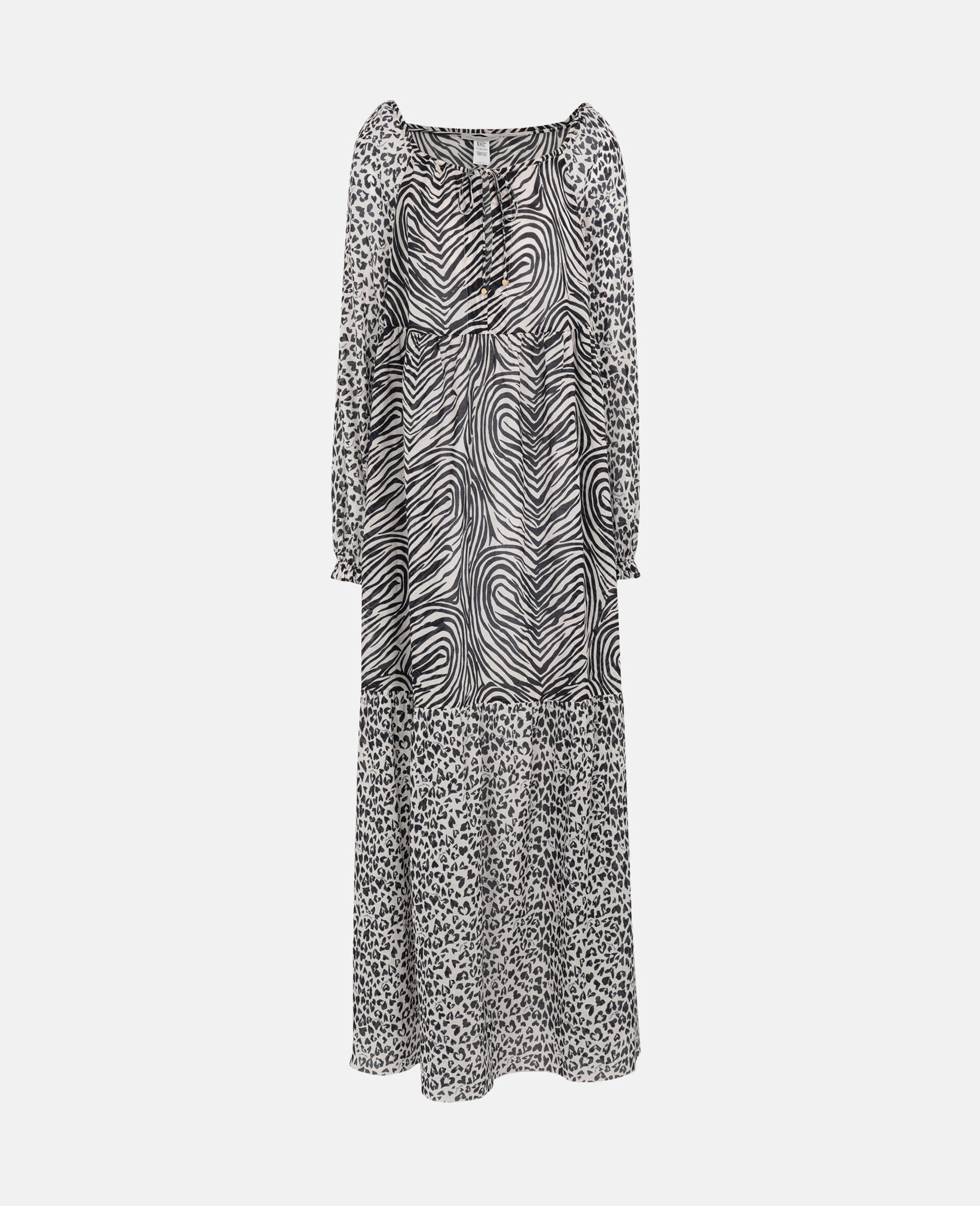 Animal Mix Long Dress-Black-large image number 0