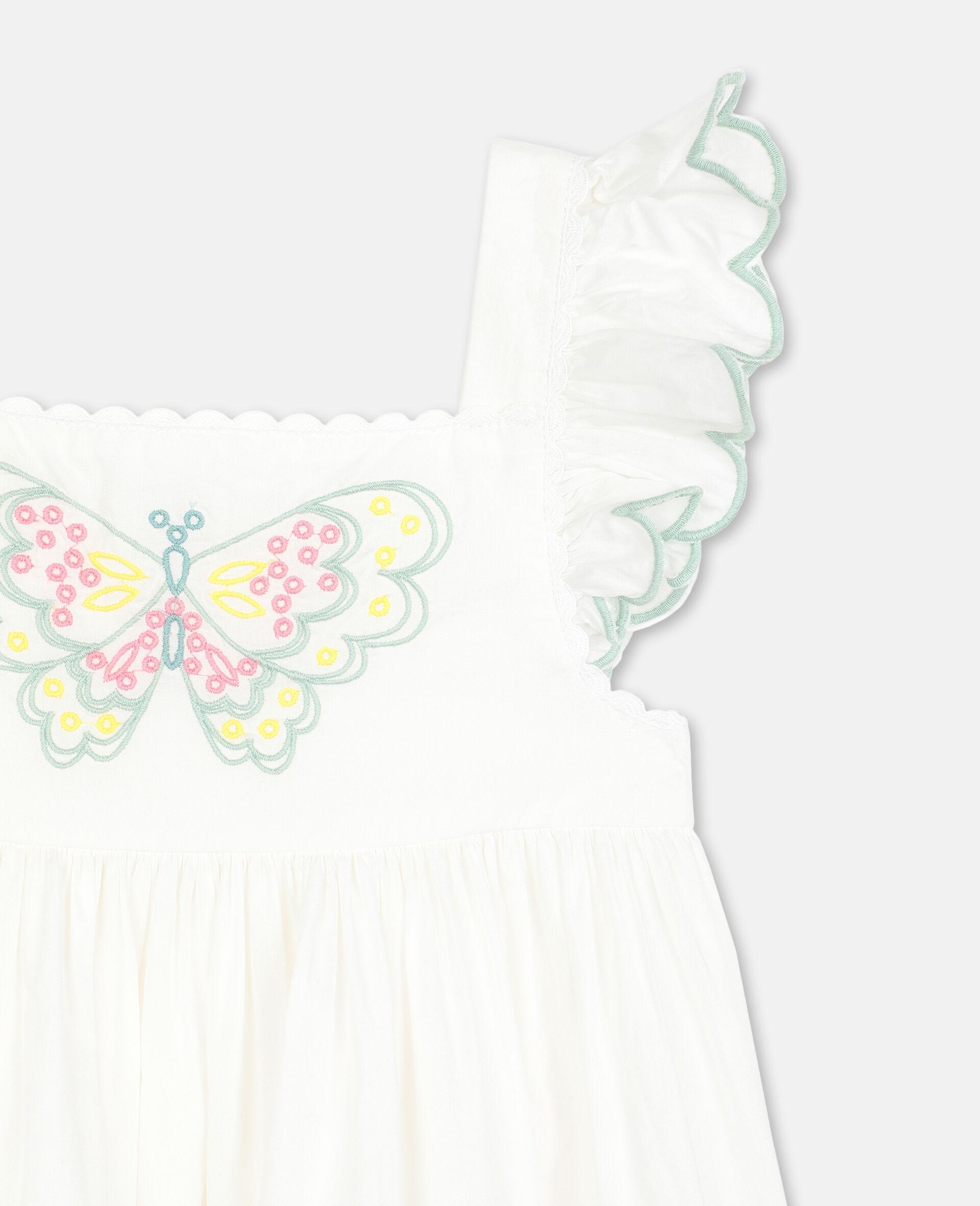 Vestito in Cotone con Farfalle Ricamate-Bianco-large image number 1
