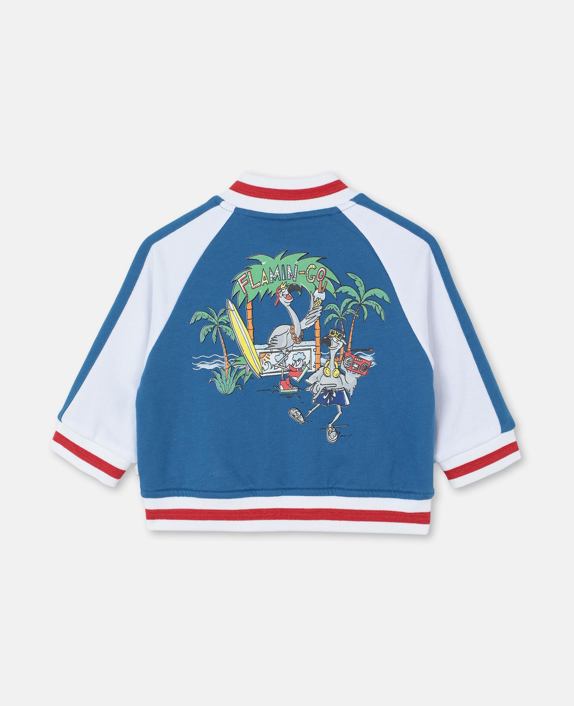 Flamingo Party Cotton Cardigan -Blue-large image number 3
