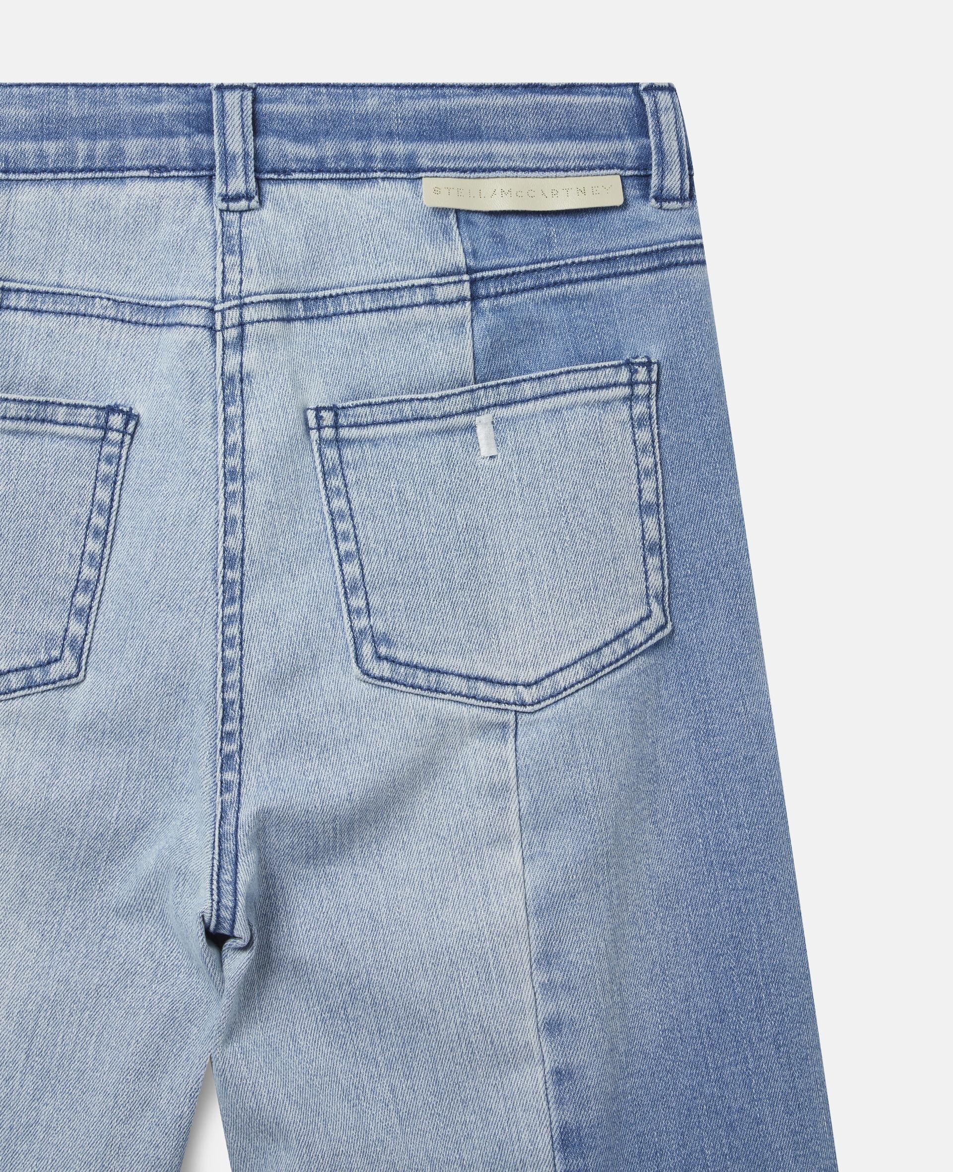 双色牛仔长裤 -蓝色-large image number 2