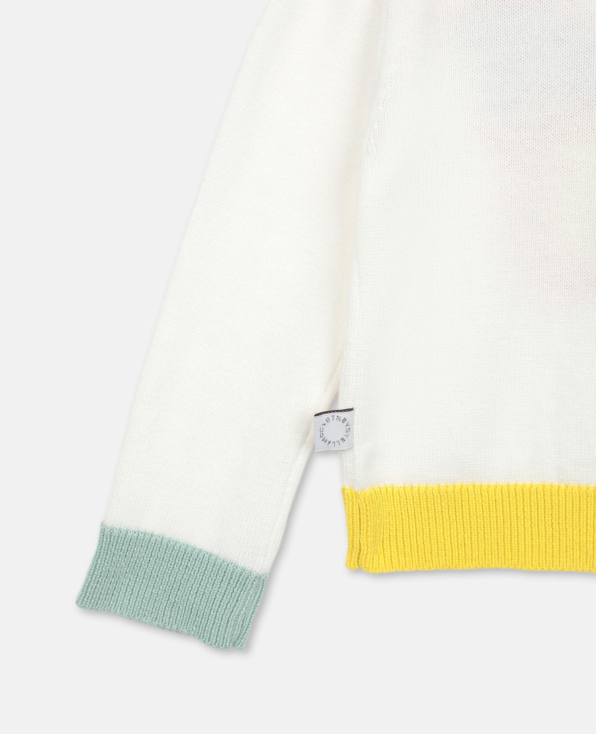 Jacke aus Strick mit Schmetterling-Intarsie -Weiß-large image number 2