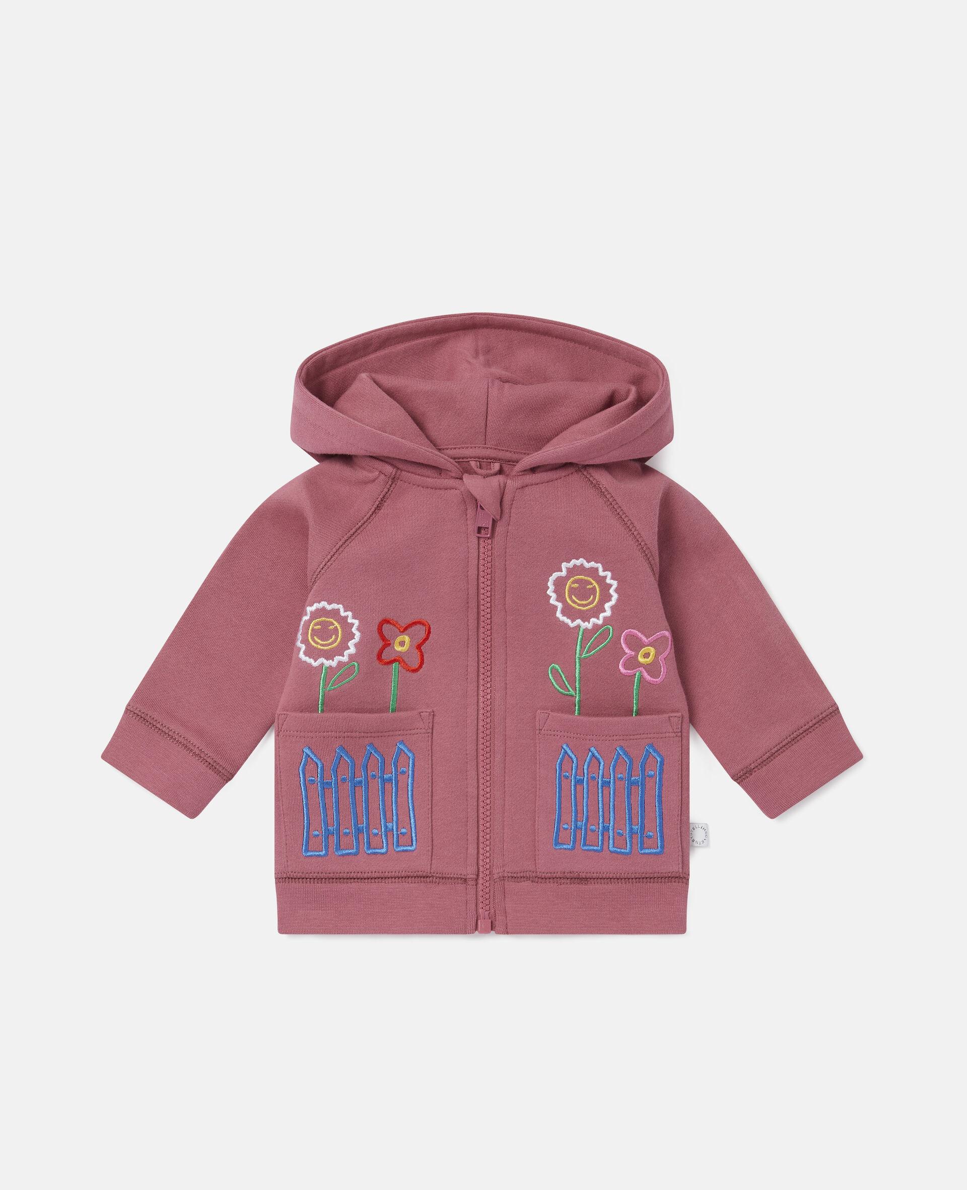 Sweat-shirt à capuche en polaire motifs jardin-Rouge-large image number 0