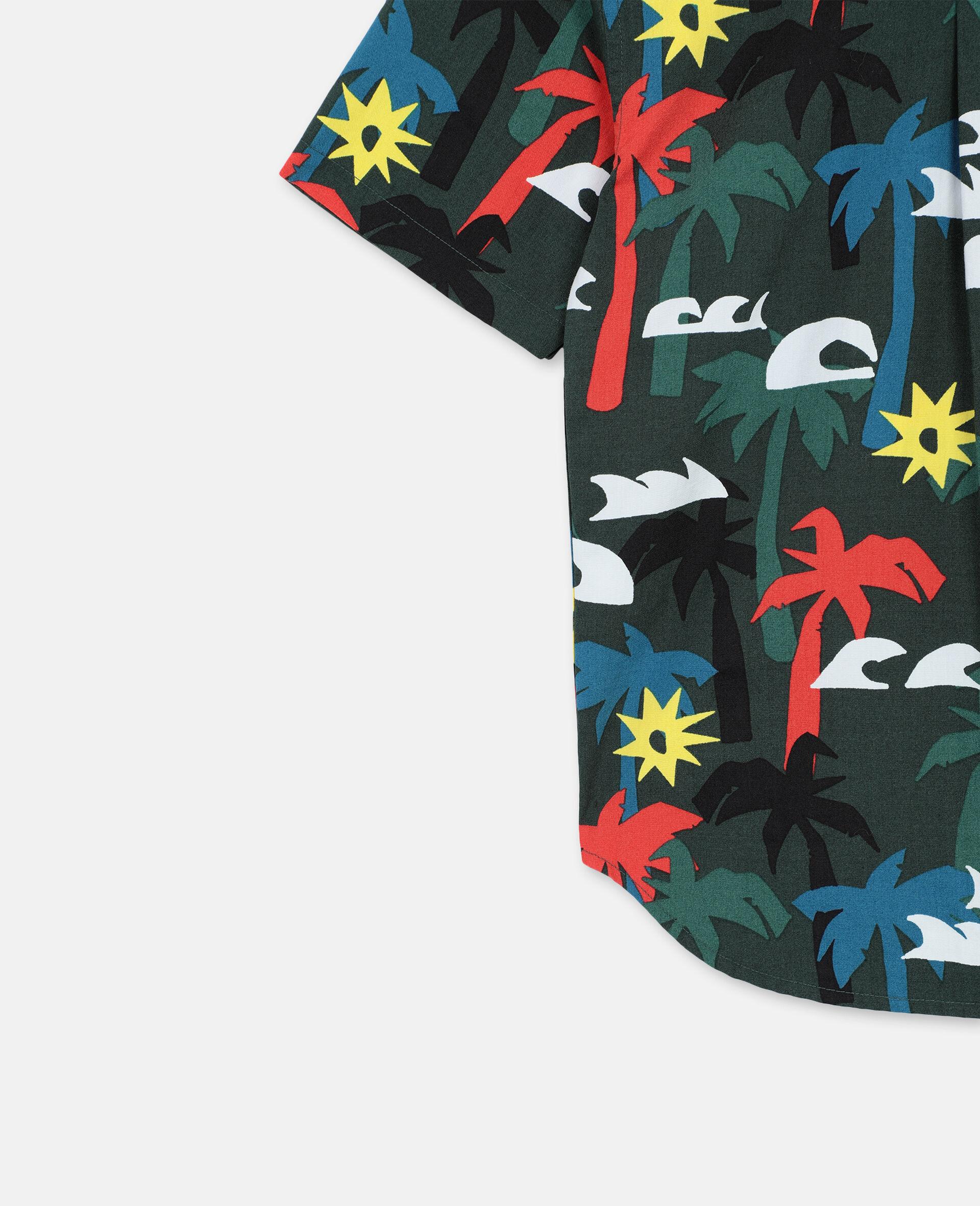 Palm Oversize Cotton Shirt -Multicolour-large image number 2