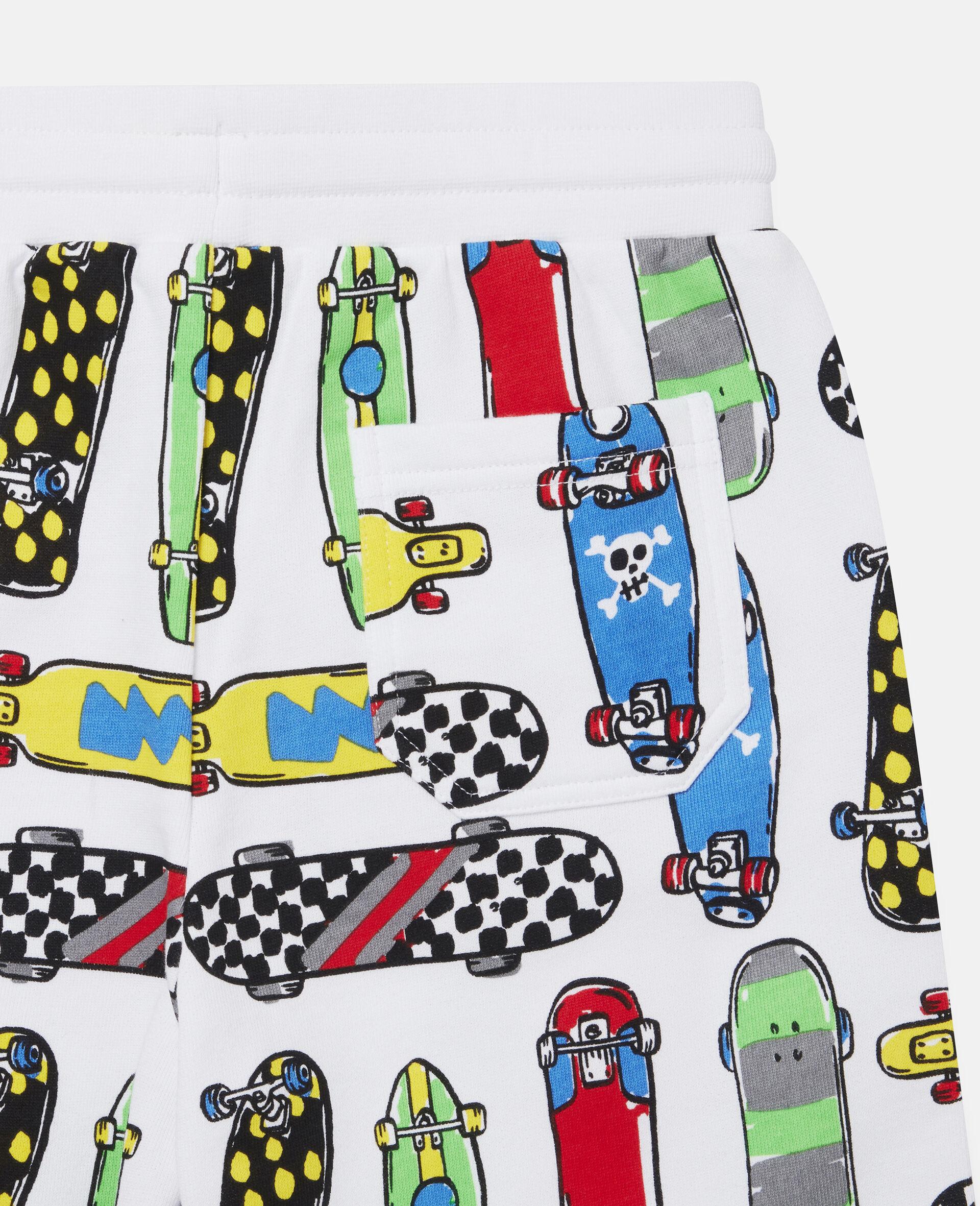 Fleece-Shorts mit Skateboardmotiv-Weiß-large image number 2