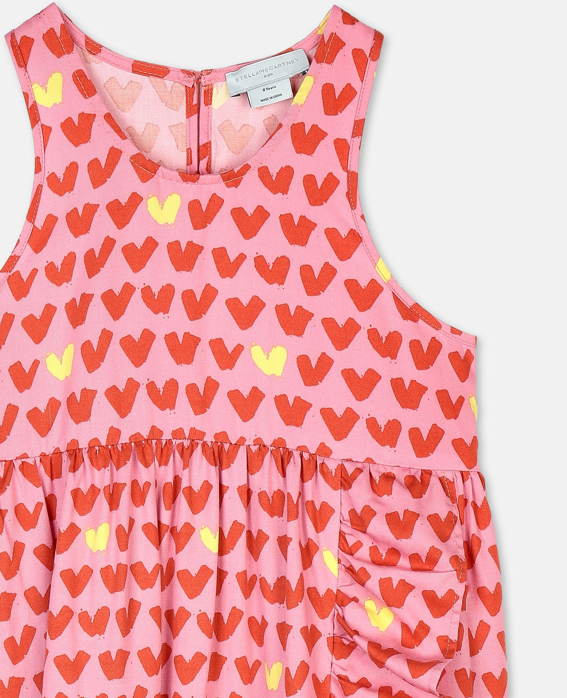 Hearts Viscose Twill Dress-Pink-large image number 1