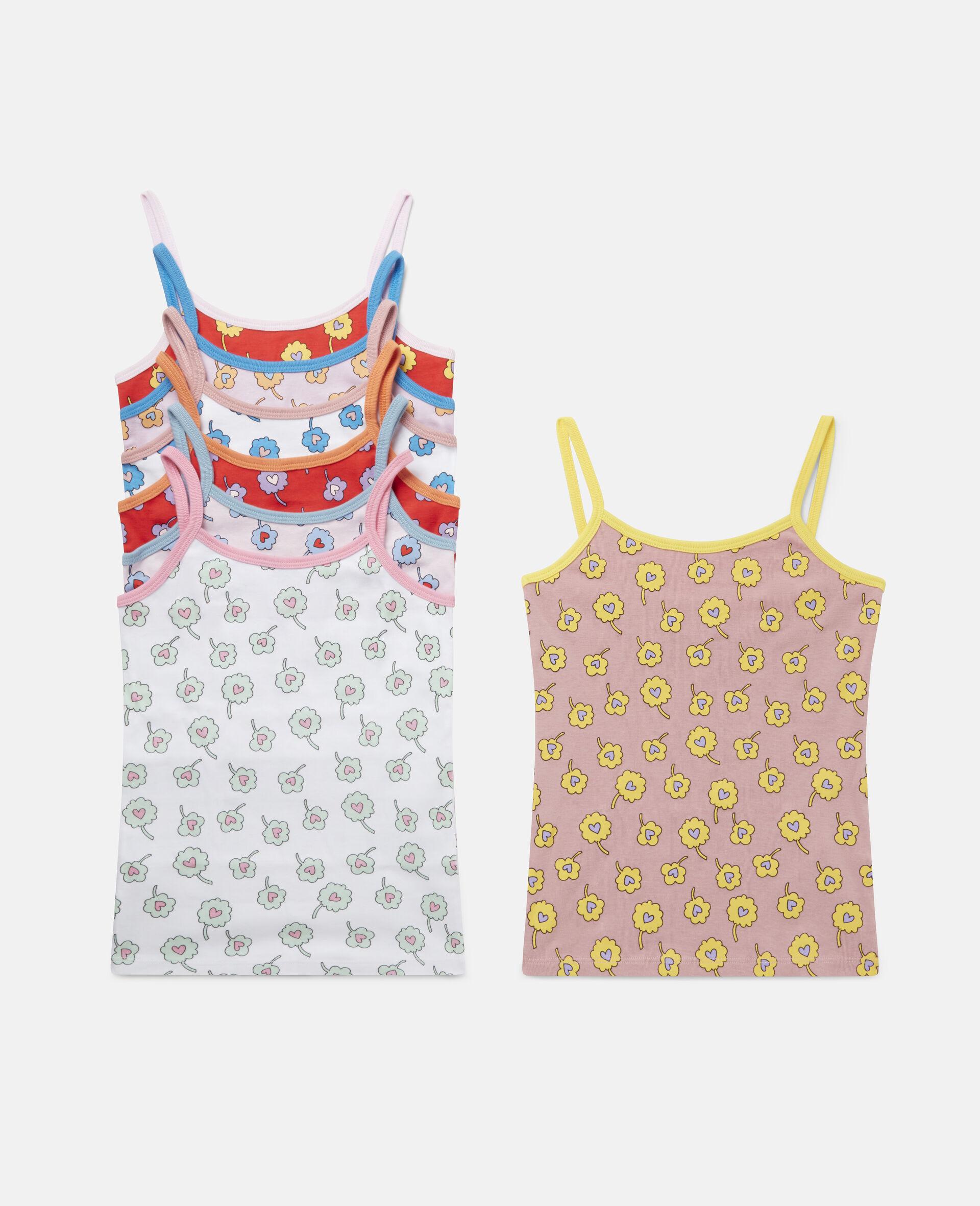 Ditsy Flowers Jersey Rib Vest Week Set-Multicolour-large image number 0