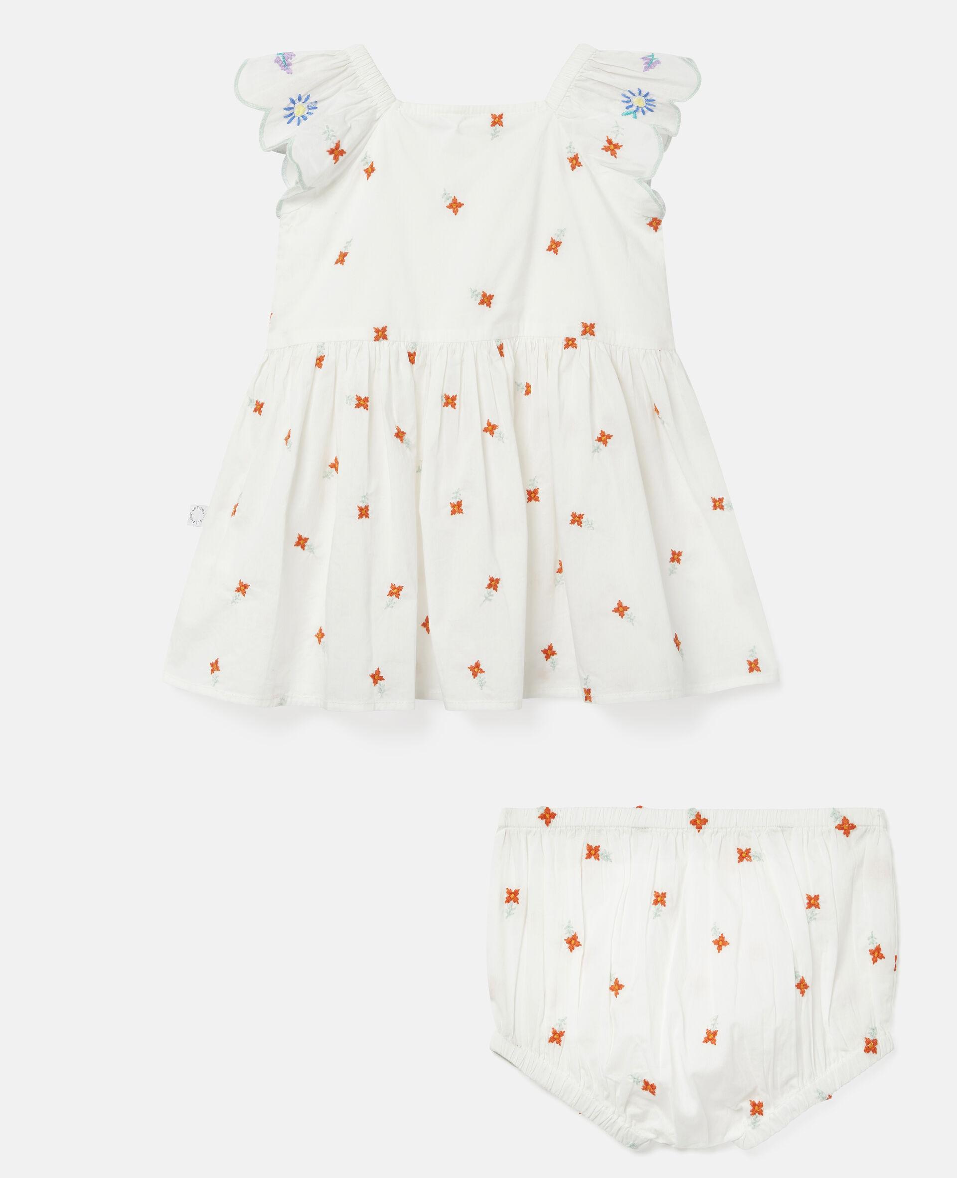 Robe en coton à fleurs brodées-Blanc-large image number 3