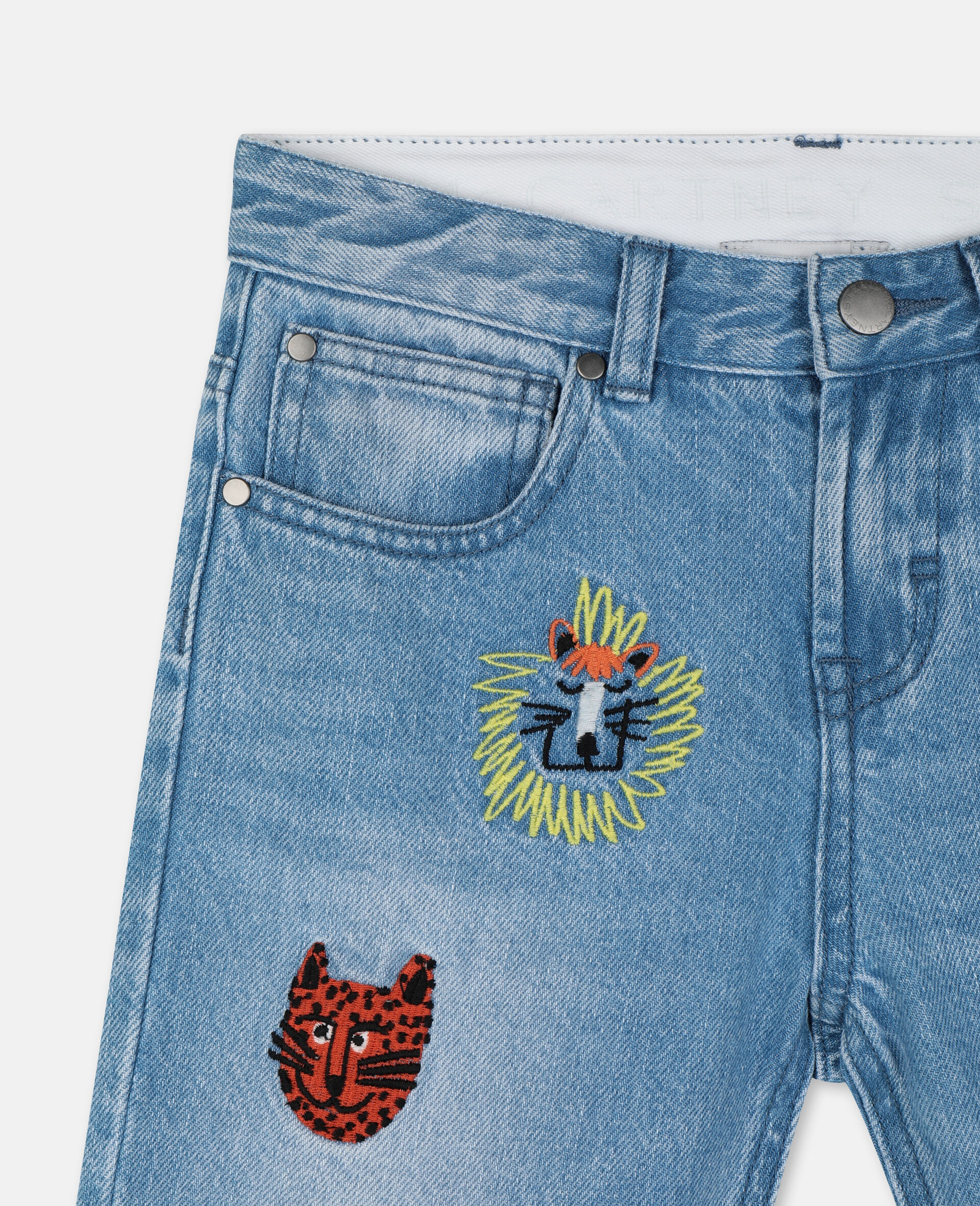 Embroidered Cats Boyfriend Denim Trousers-Blue-large image number 1