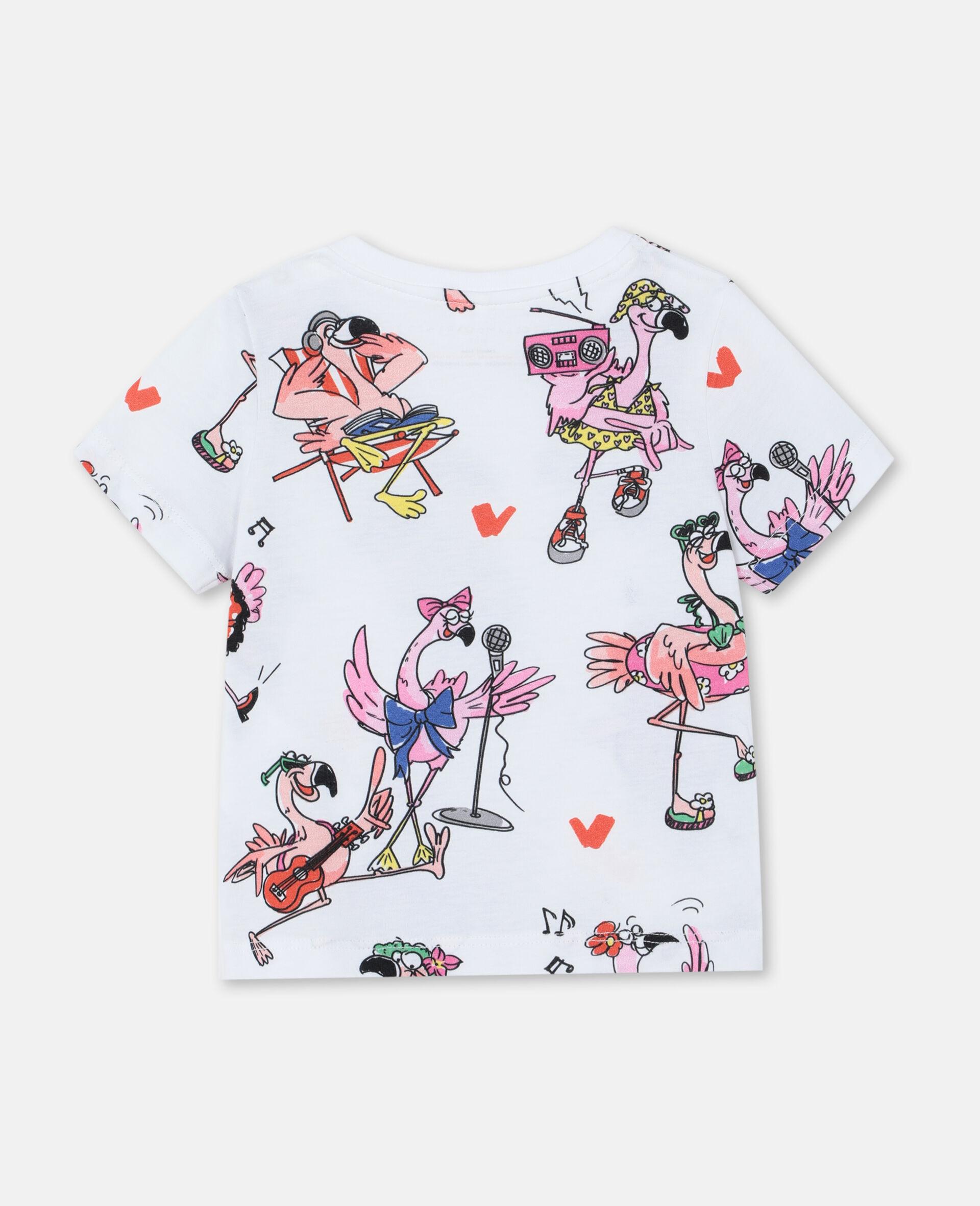 Flamingo Party Cotton T-shirt -Multicolour-large image number 3