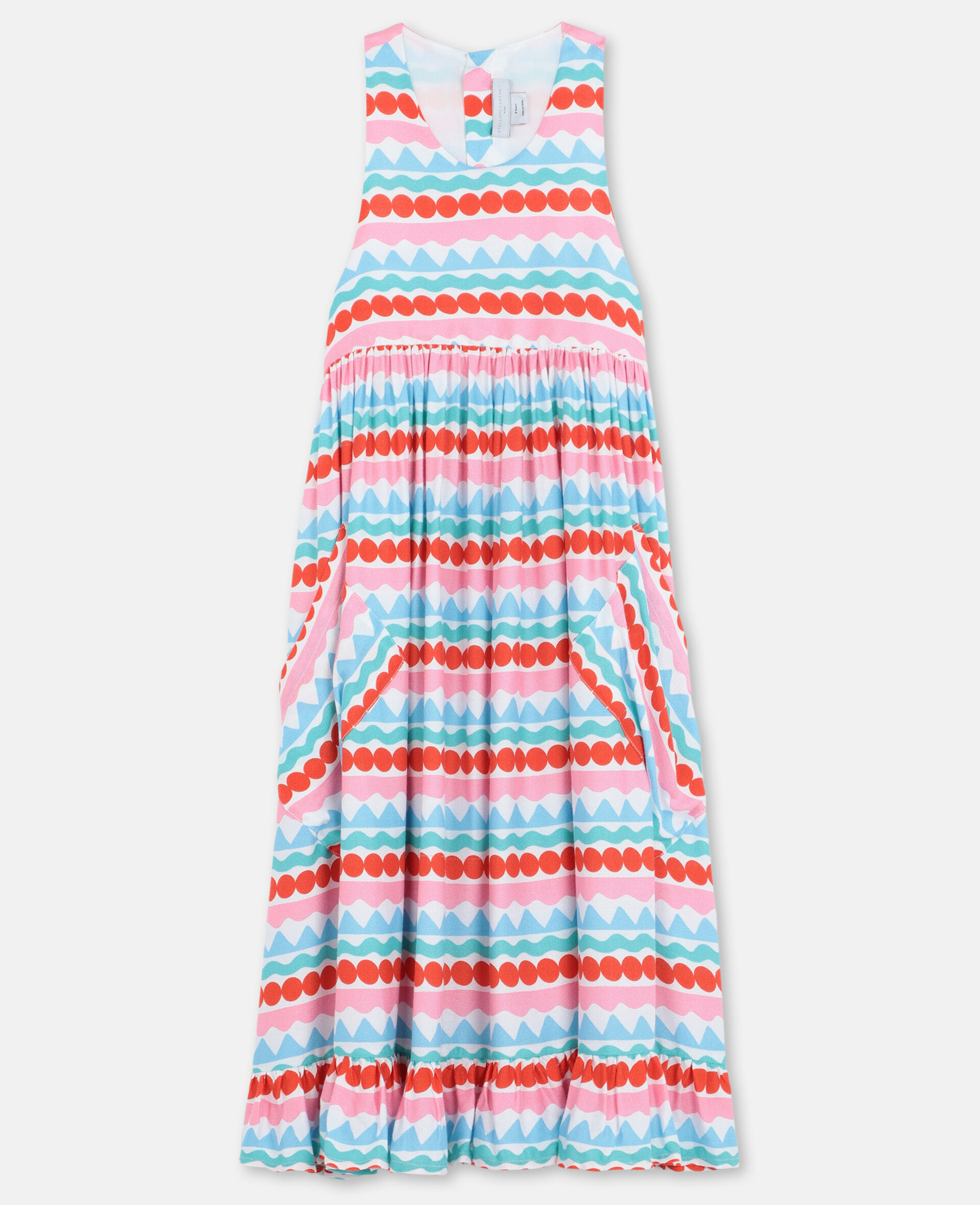 Graphic Striped Dress -Multicoloured-large image number 0