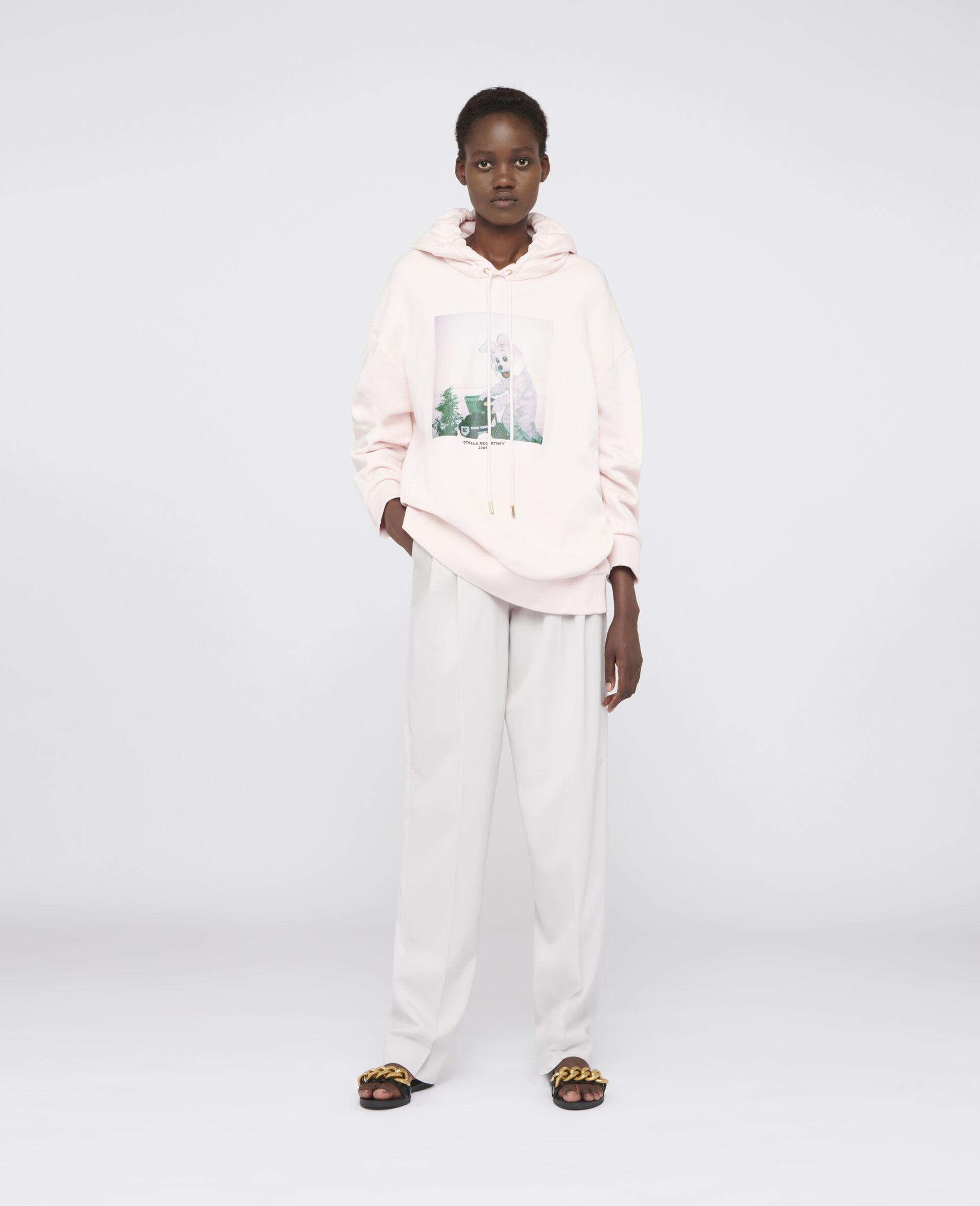 Bunny Print Hoodie-Pink-large image number 1