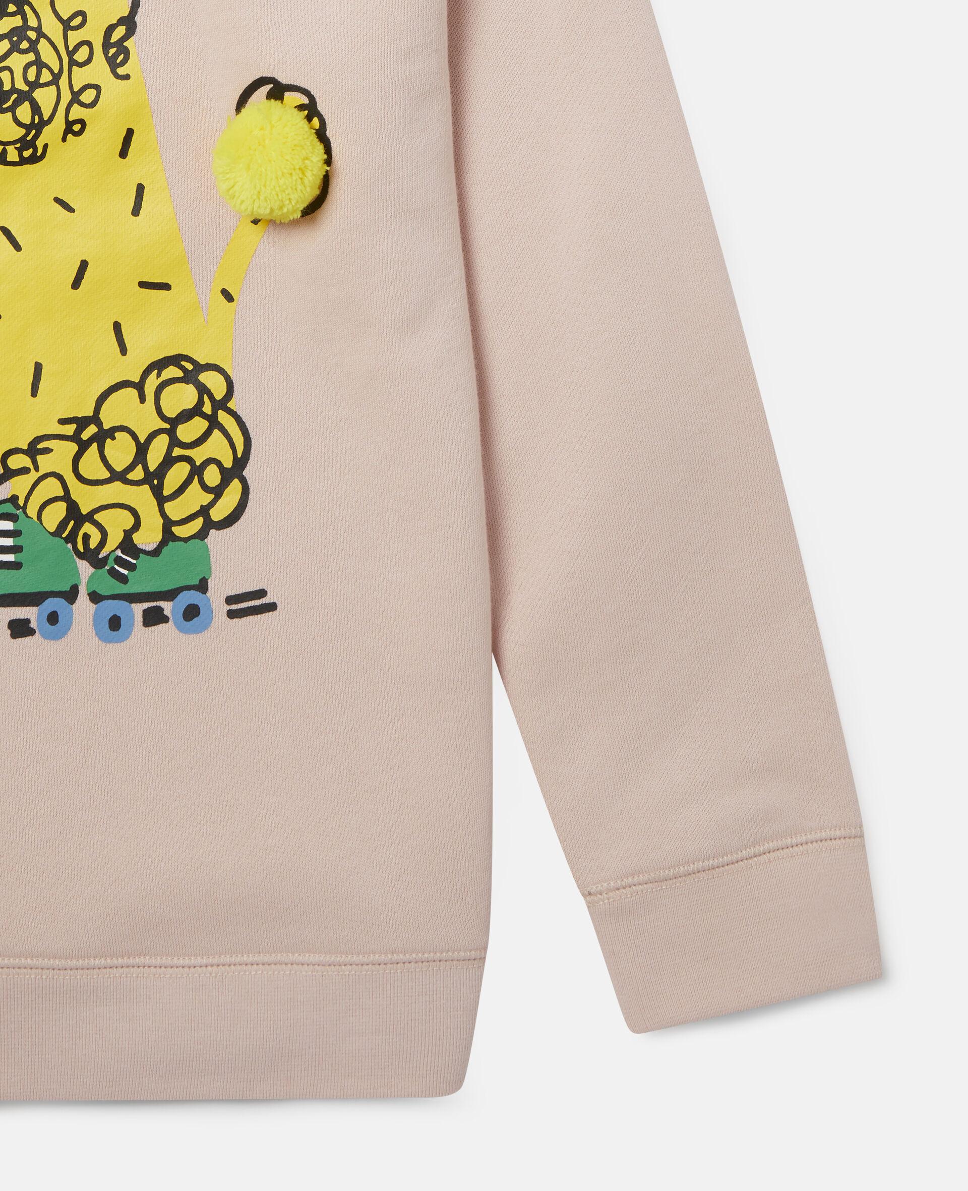 Sweatshirt aus Fleece mit Pudel auf Rollerskates-Rose-large image number 2