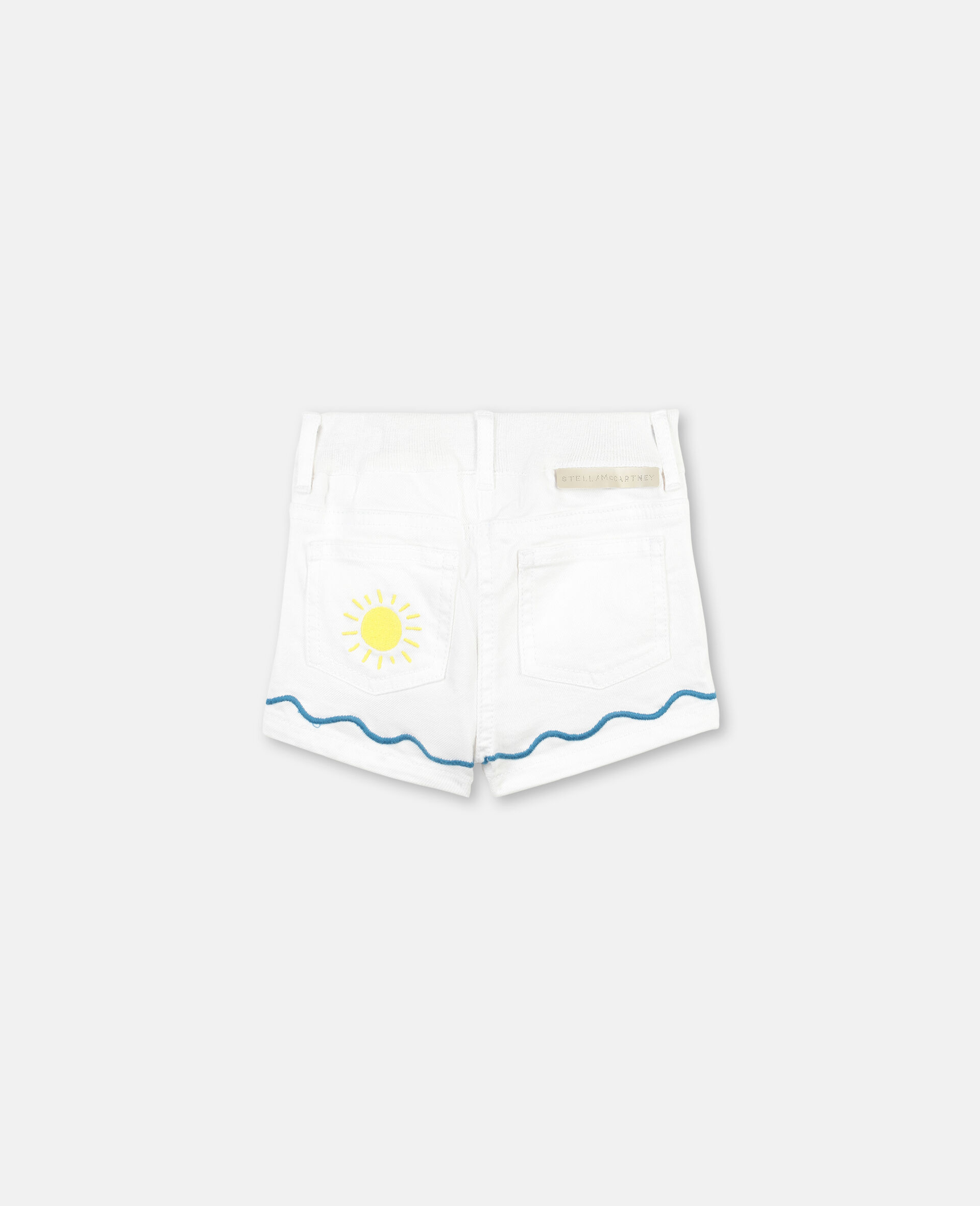 Embroided Palm and Sea Denim Shorts -White-large image number 3