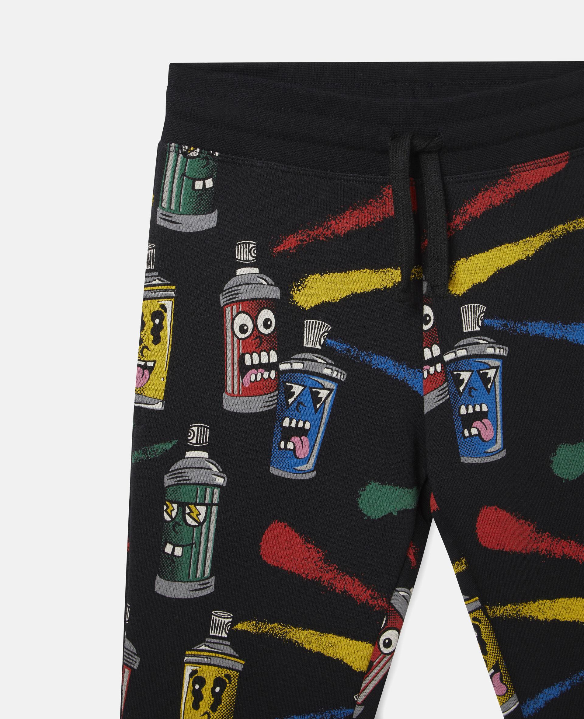 Pantalon de jogging en polaire imprimé visages aérosols-Noir-large image number 1