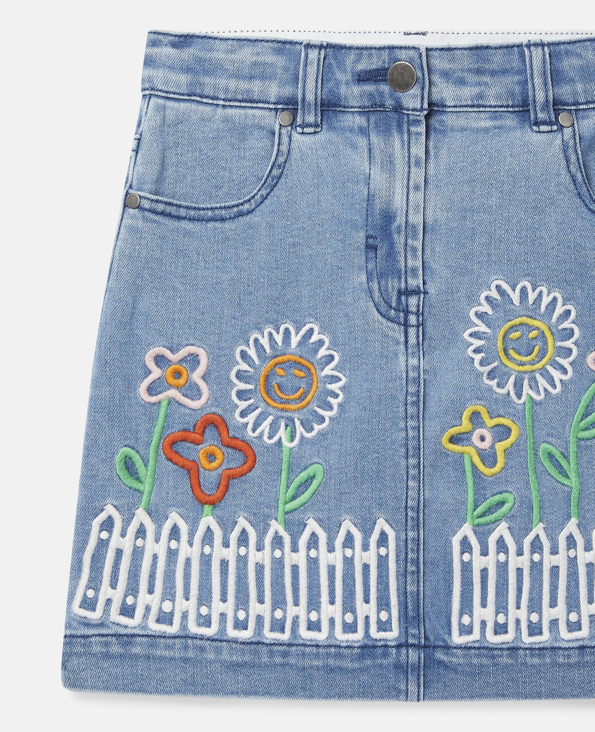 Embroidered Flowers Denim Skirt -Blue-large image number 2