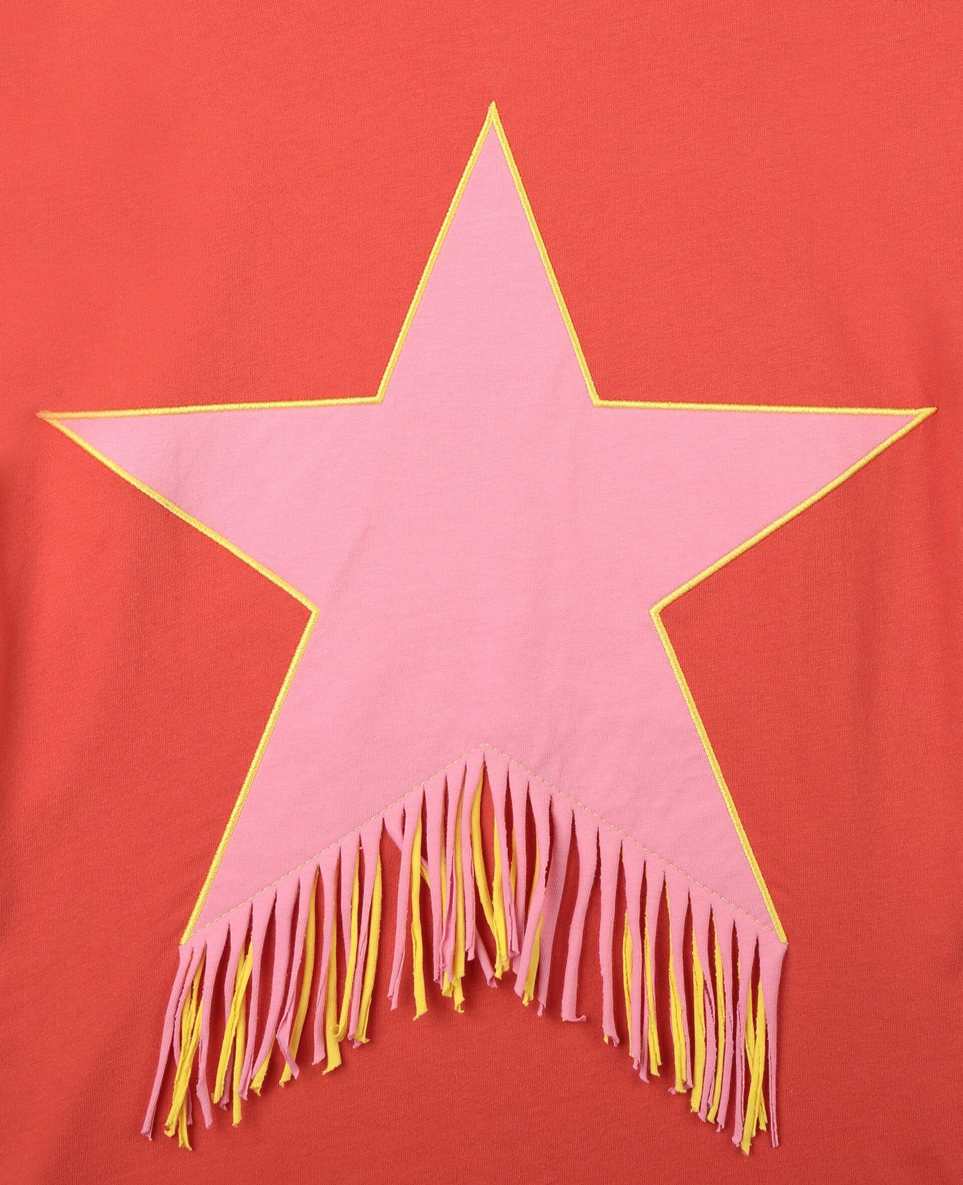 Star & Fringes Cotton Dress-Red-large image number 1
