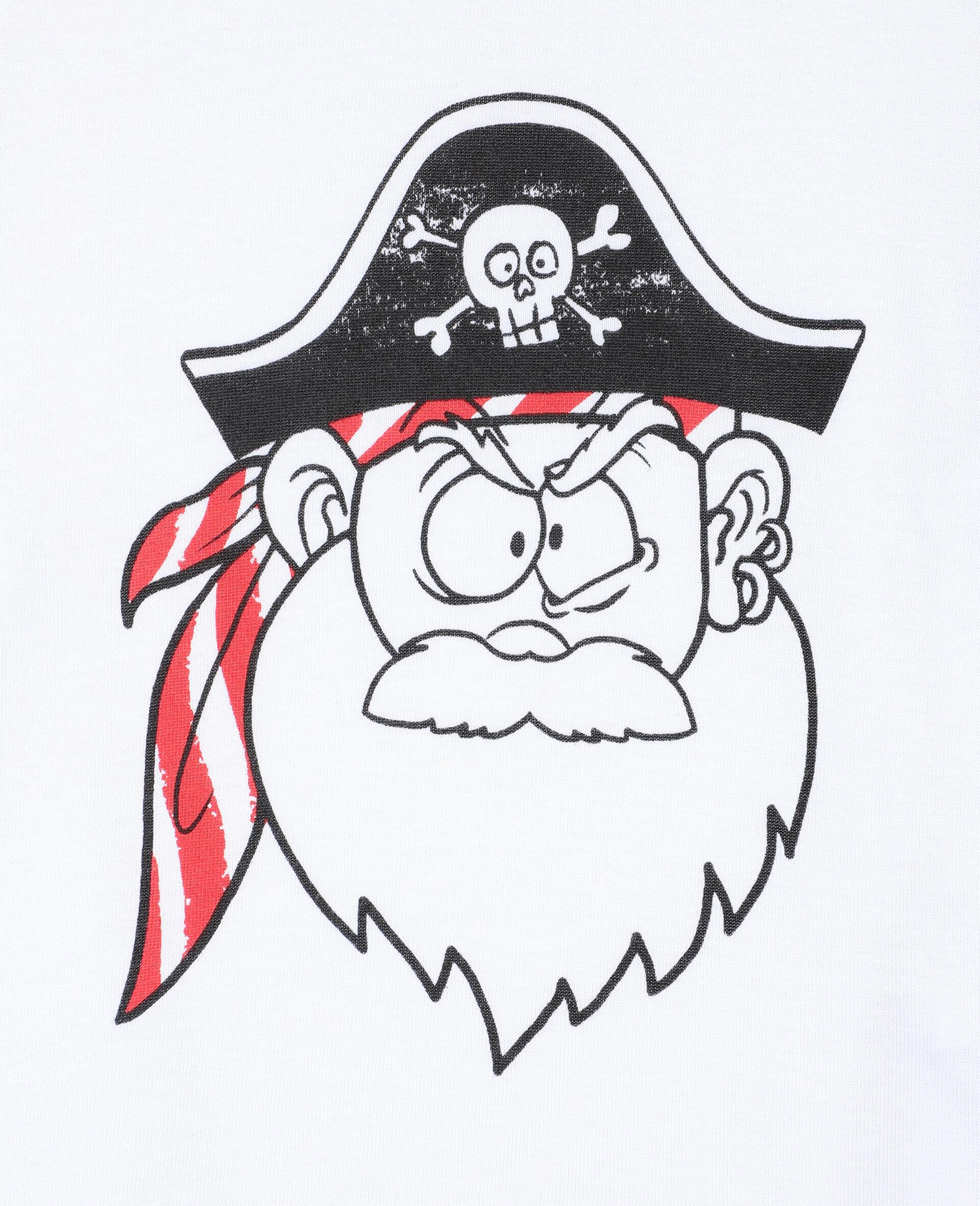 T-Shirt mit Lustiges-Piratengesicht-Print -Weiß-large image number 1