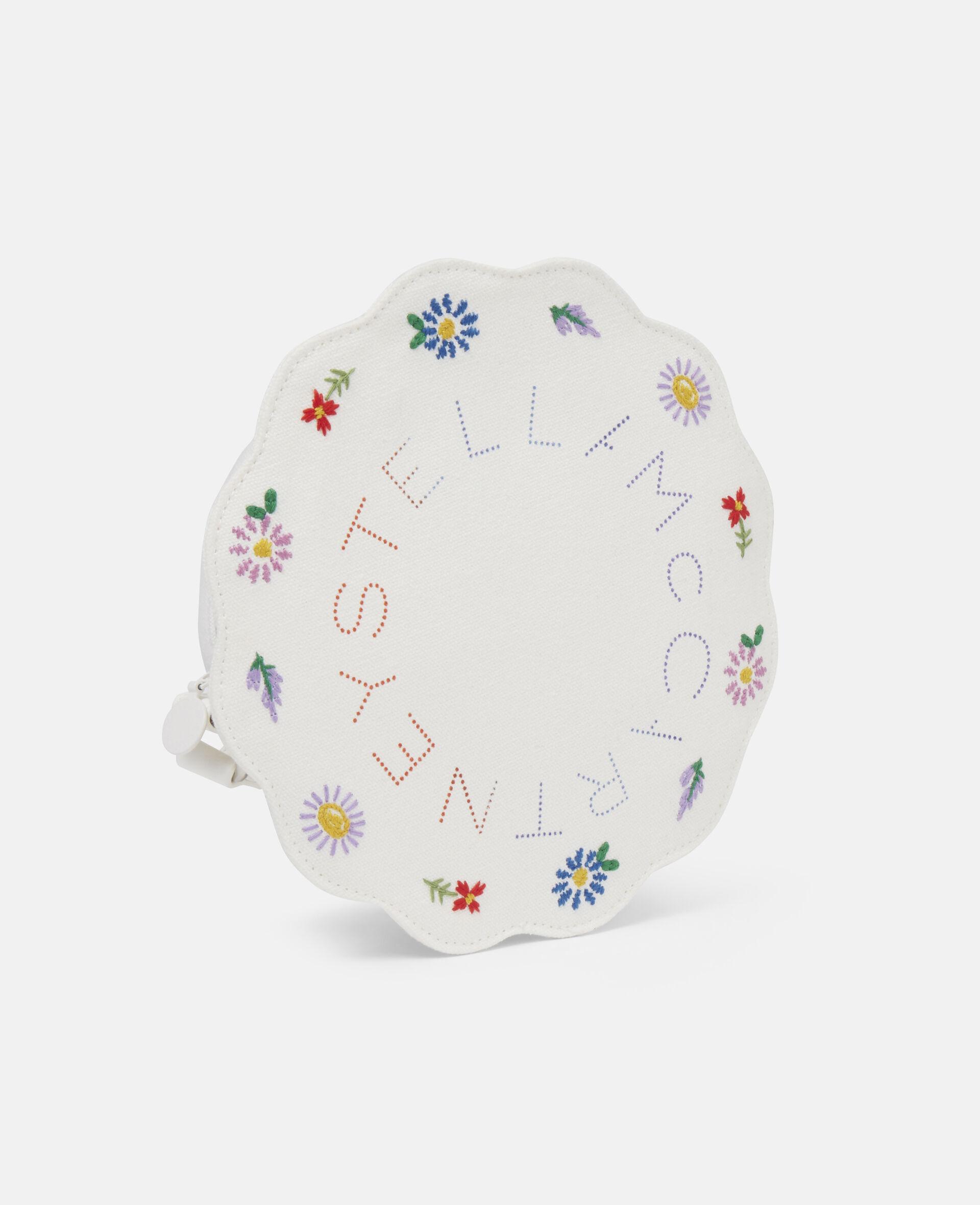 Embroidered Flowers Canvas Shoulder Bag-Beige-large image number 1
