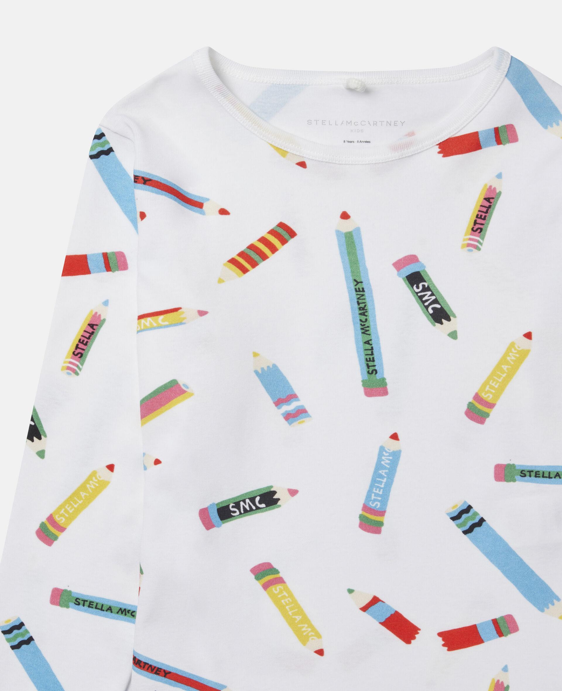T-Shirt aus Baumwolle mit Stifte-Print -Weiß-large image number 1
